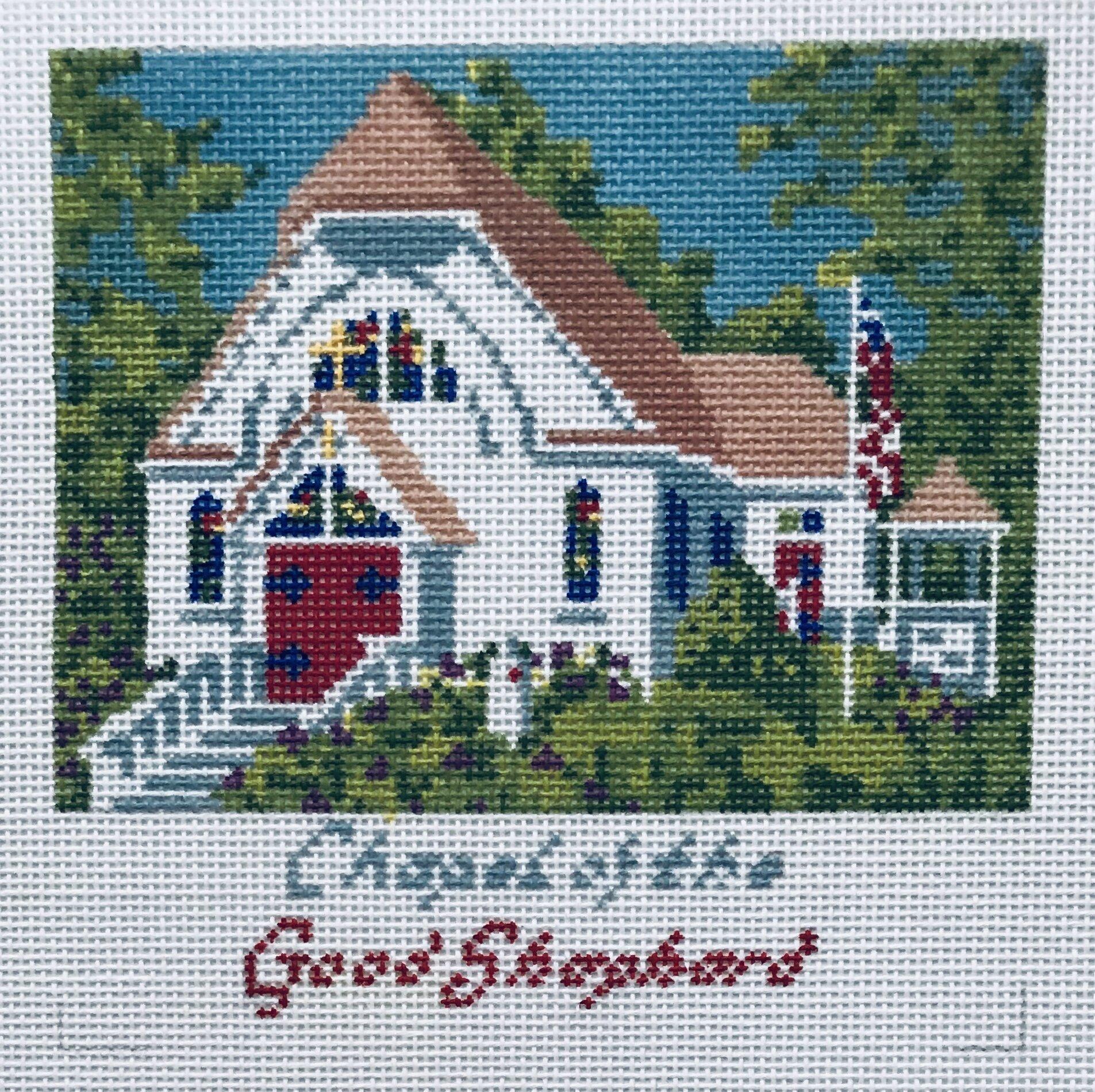 "Chapel of the Good Shepard - Chautauqua AL62   5"" x 5"" on 18 mesh"