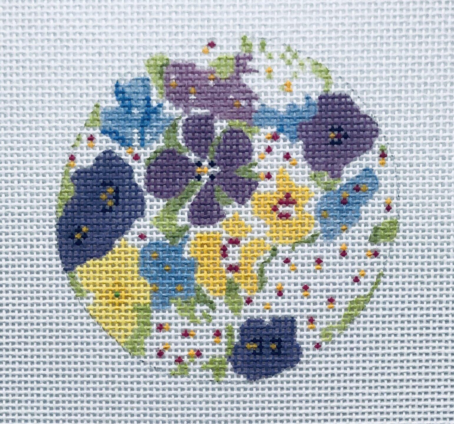"Petit Fleur Ornament ALPF1   3"" round on 18 mesh"