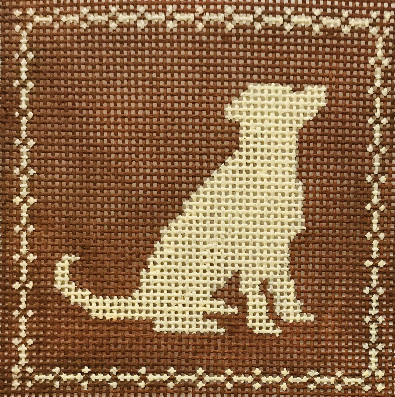 "Sitting Labrador AL100   4"" x 4"" on 14 mesh"