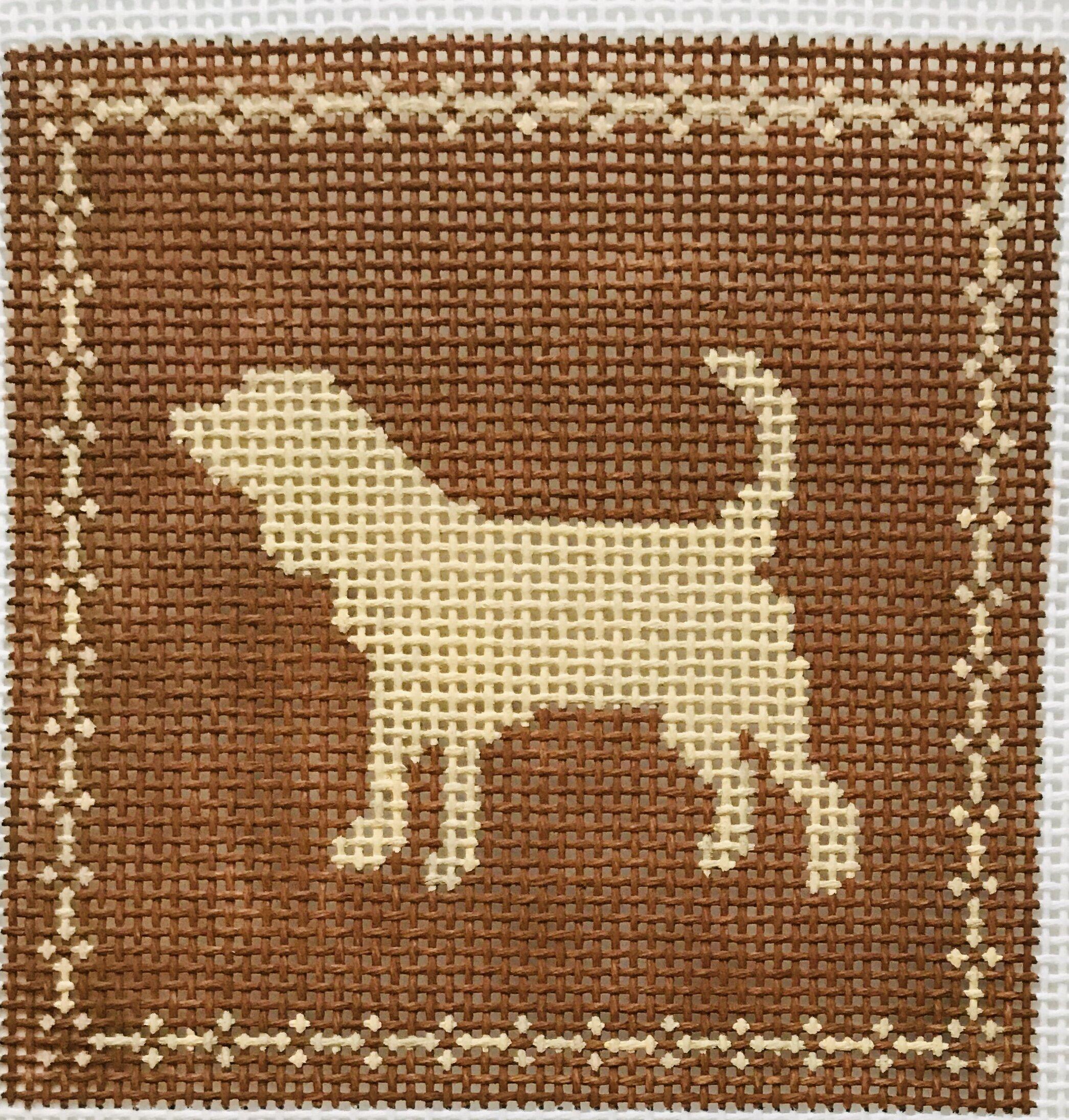 "Small Dog / Beagle AL102   4"" x 4"" on 14 mesh"
