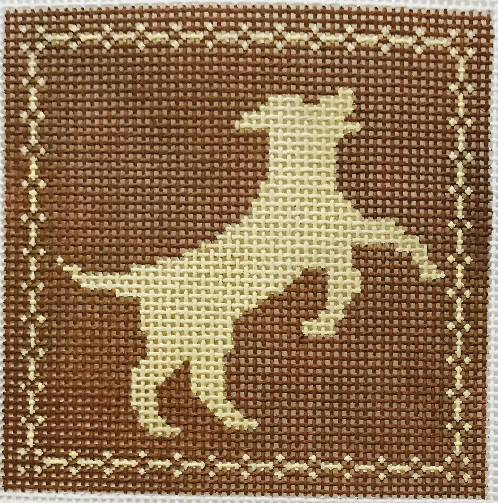 "Leaping Labrador AL104   4"" x 4"" on 14 mesh"