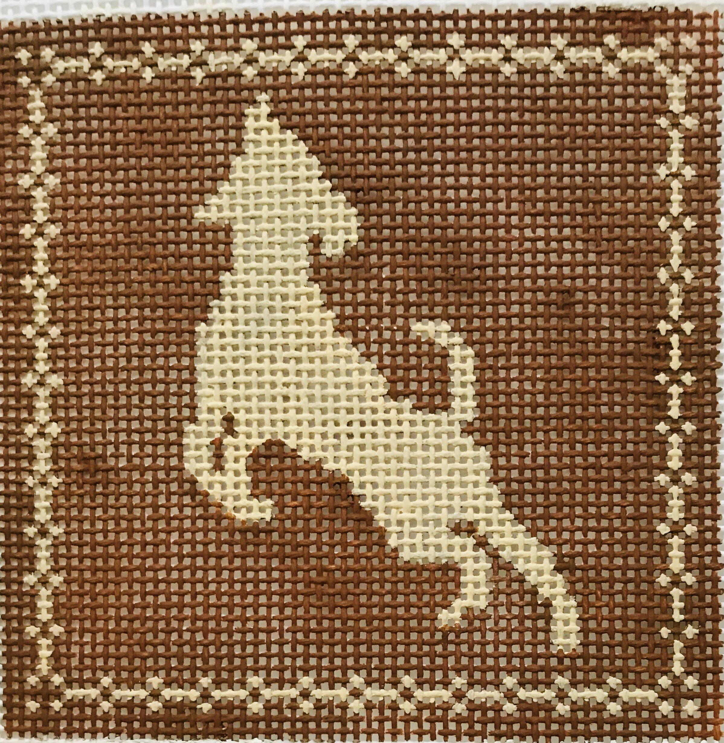 "Jumping Labrador AL110   4"" x 4"" on 14 mesh"