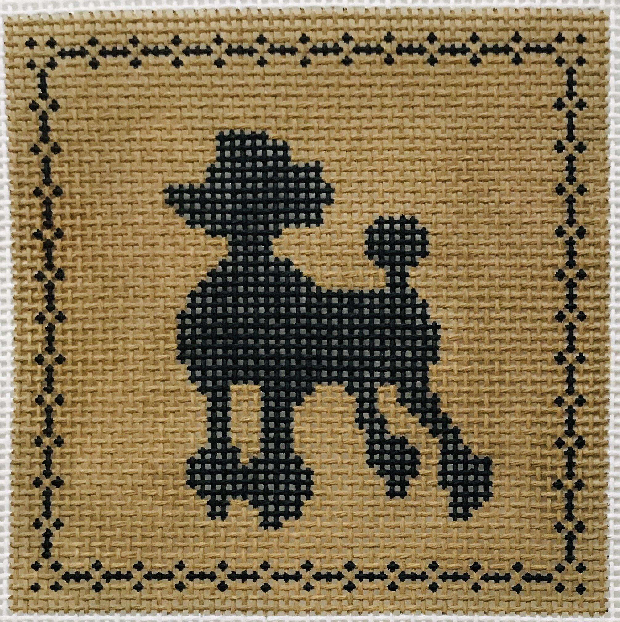 """Poodle AL127   4"""" x 4"""" on 14 mesh"""