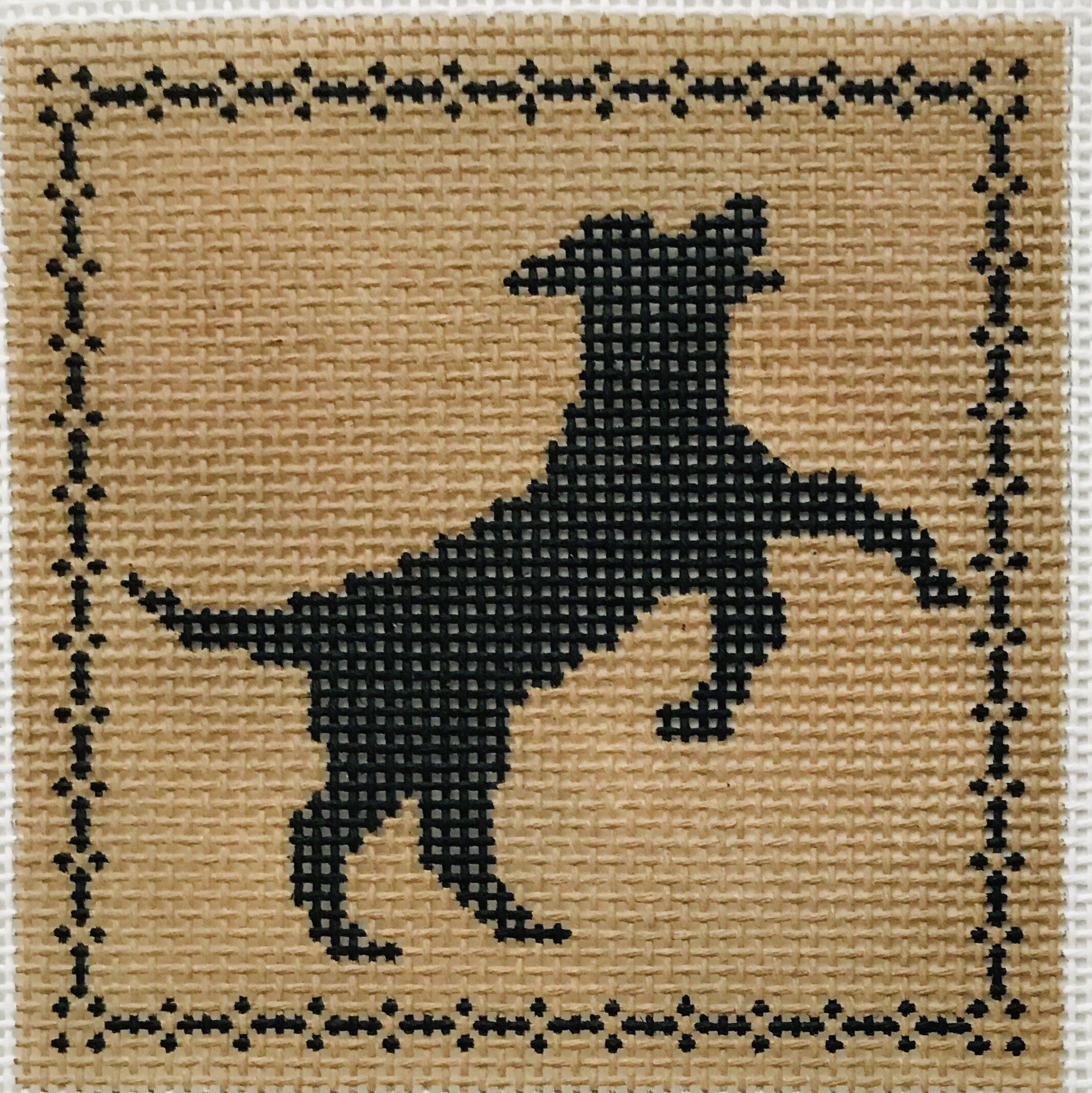 "Leaping Labrador AL129   4"" x 4"" on 14 mesh"