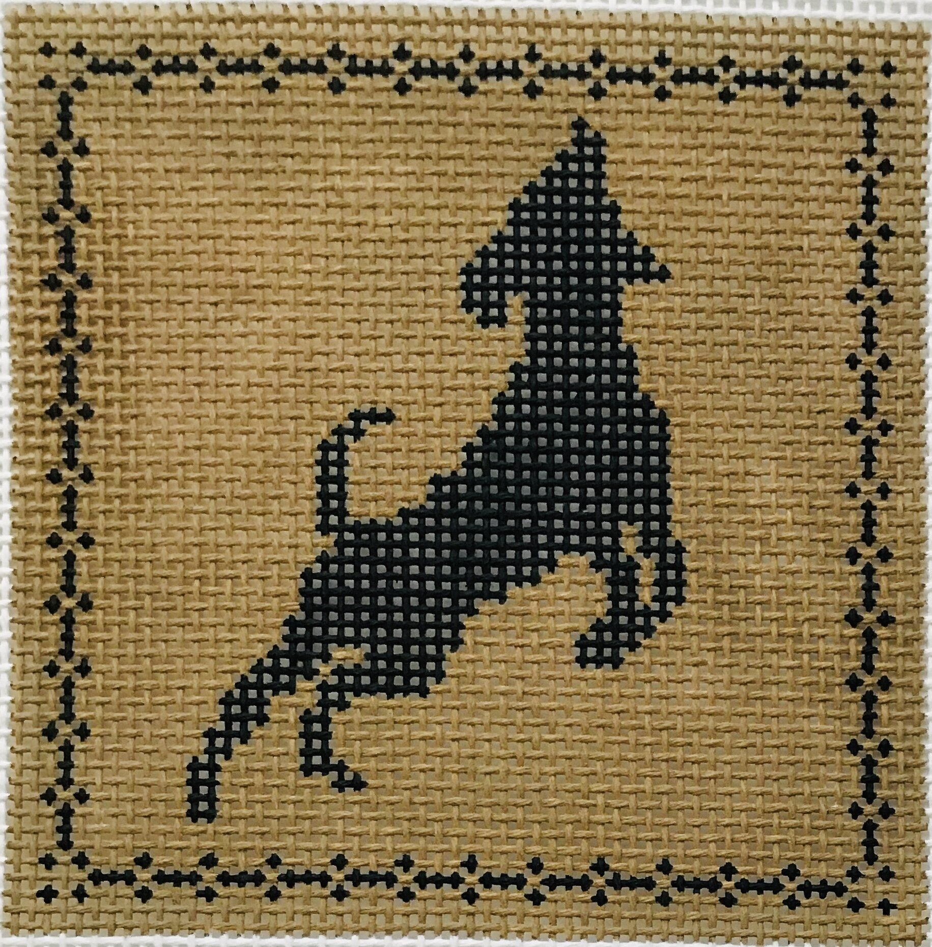 "Jumping Labrador AL130   4"" x 4"" on 14 mesh"