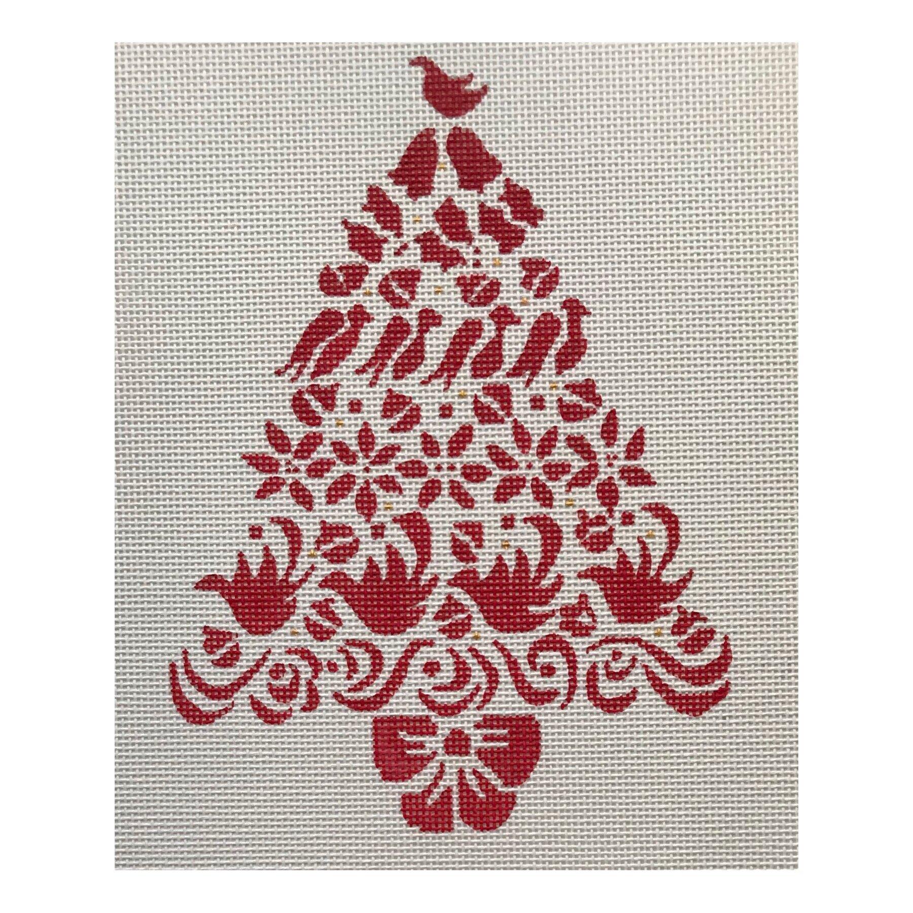 """Red Christmas Tree AL30   8.5"""" x 6.5"""" on 14 mesh"""
