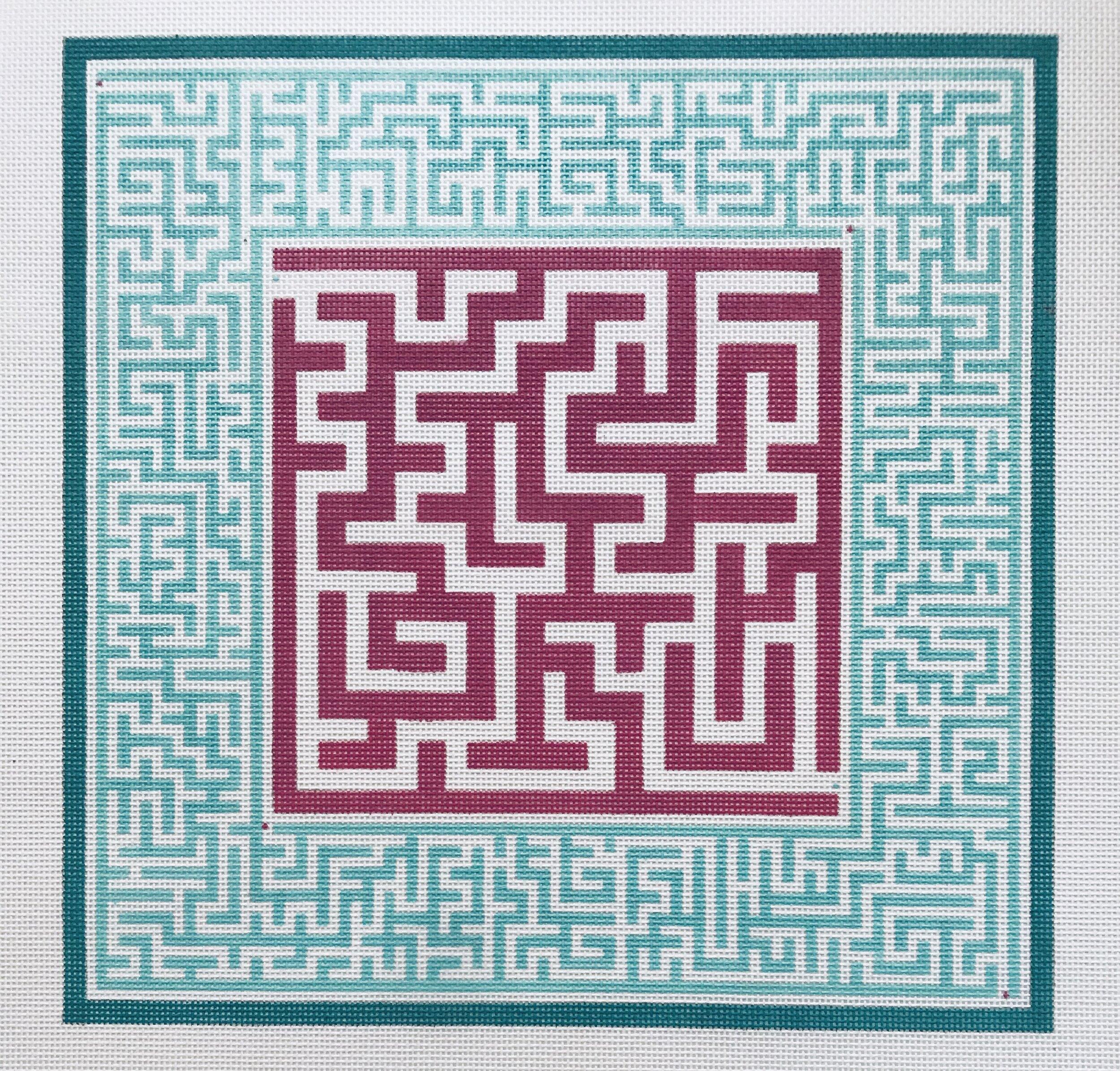 "Pink Center Maze AL66   12.5"" 12.5"" on 14 mesh"