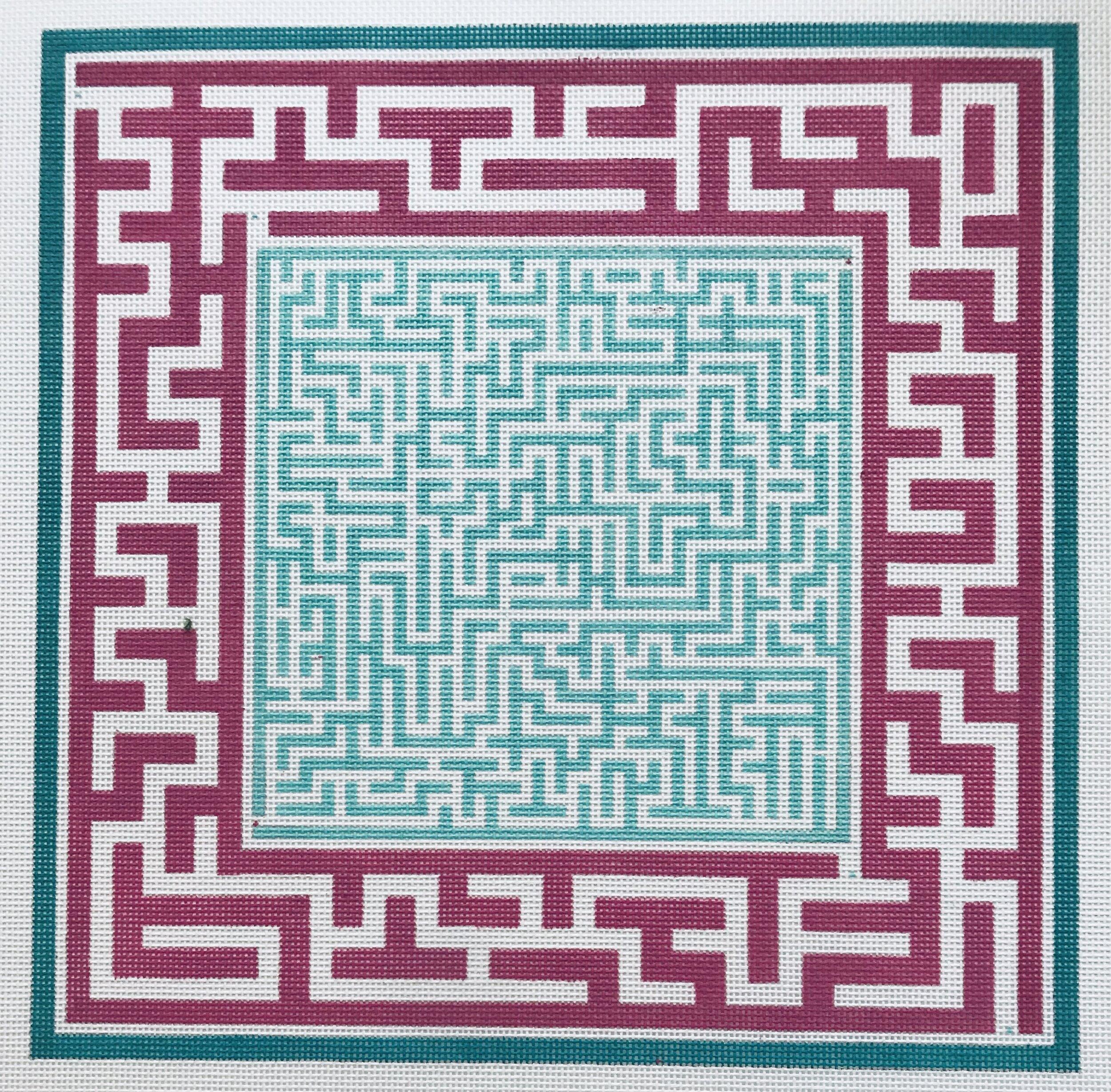 "Green Center Maze AL67   12.5"" 12.5"" on 14 mesh"