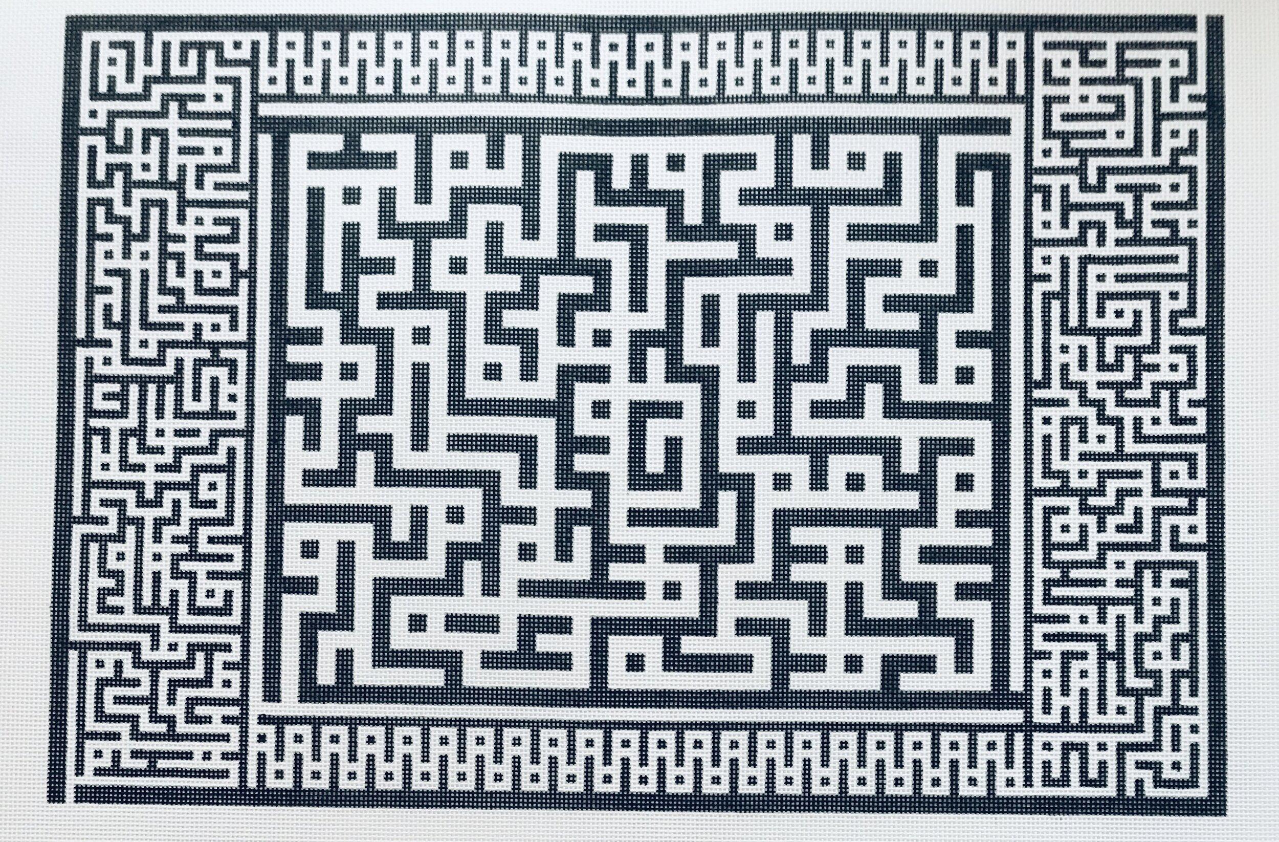 "Crazy Black Maze AL69   13"" x 18"" on 14 mesh"