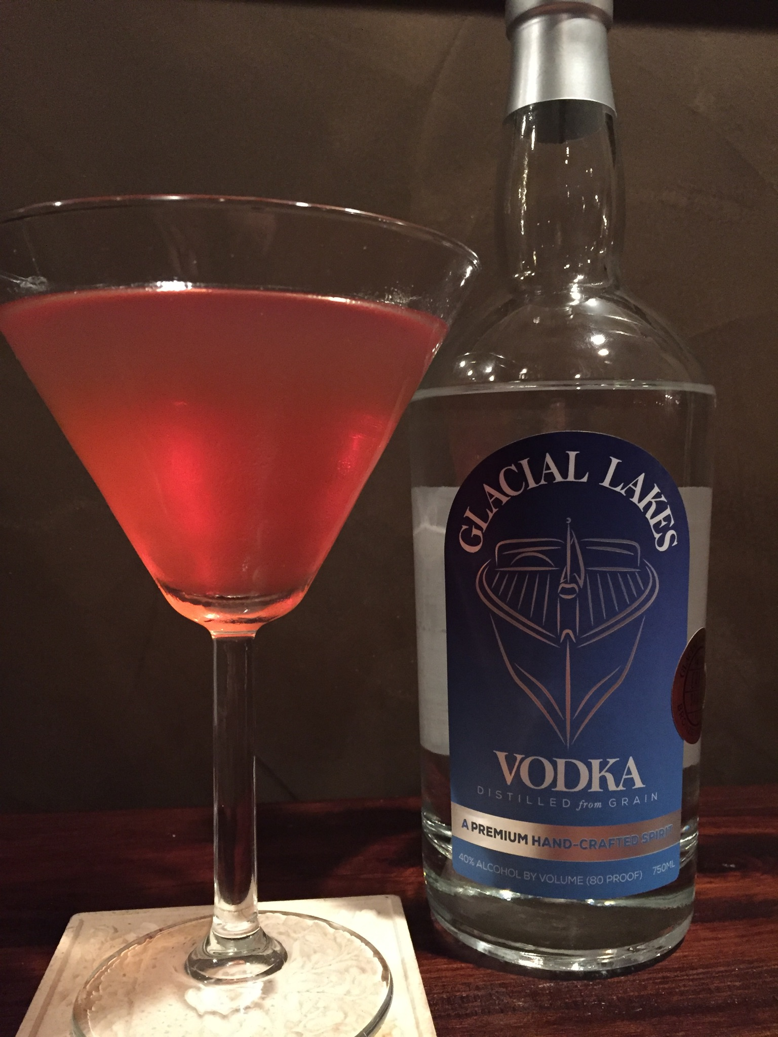 1.5 OZ GLACIAL LAKES VODKA   1 OZ triple sec   3 OZ Cranberry juice   Splash of Lemon Juice   SHAKE OVER ICE AND POUR INTO GLASS ENJOY!