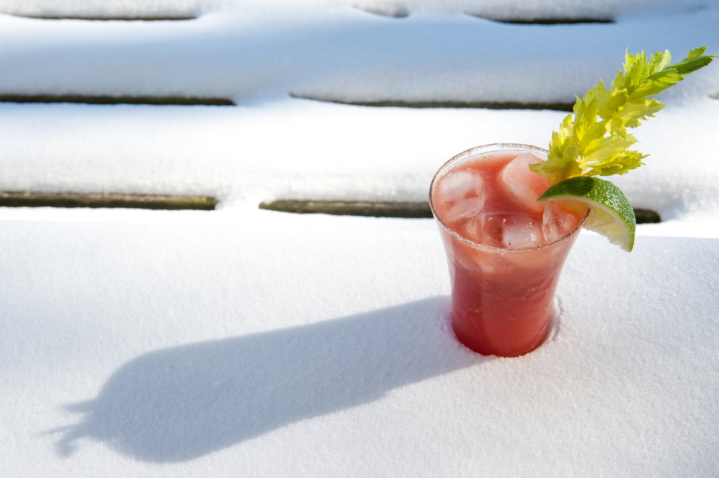 CAESAR - 2 oz Glacial Lakes Vodka 2 dashes Tabasco3 dashes Worcestershire sauce1/8 tsp of horseradish4-6 oz Clamato JuiceGround PepperGarnish with celery stalk and lime wedgeRim highball glass with celery salt. Pour ingredients over ice in glass. Finish with ground pepper on top.