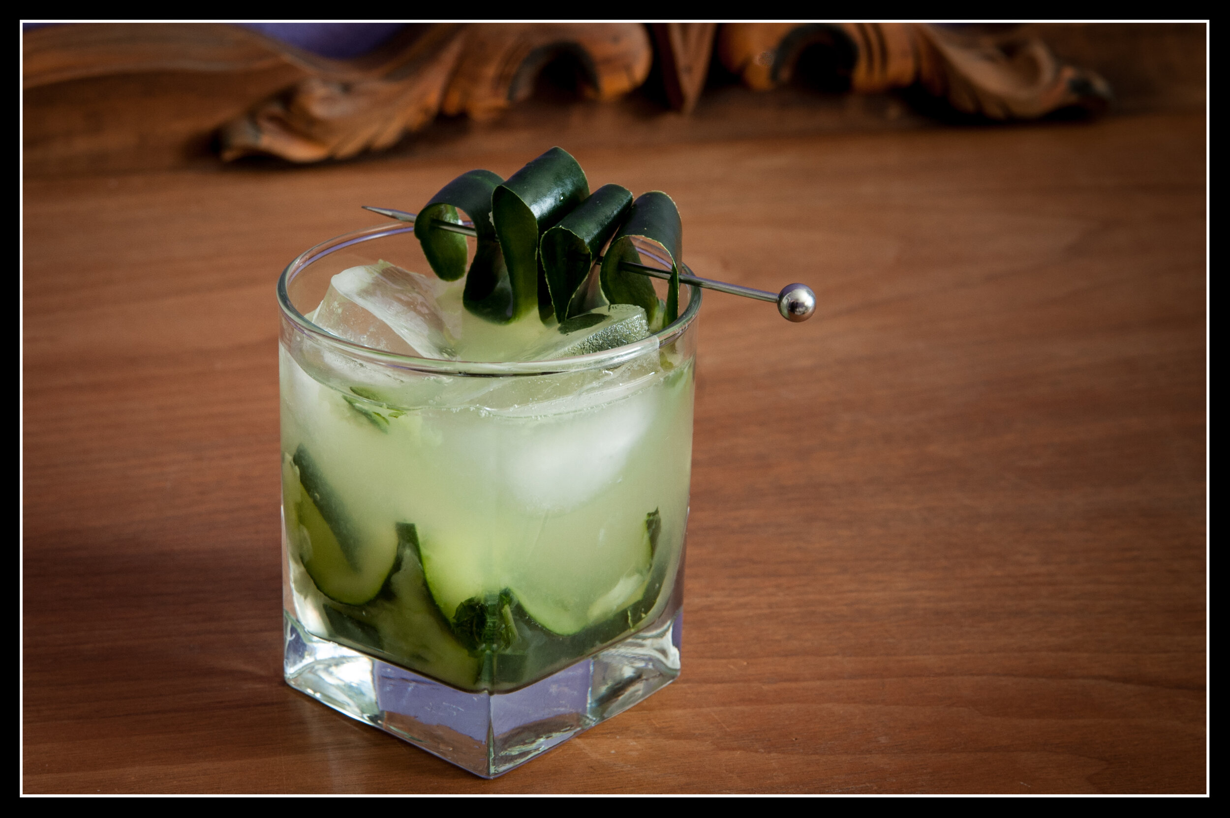 Lucamanno Fredo - 2.25 oz of dill infused GL Vodka .75 mint infused simple syrup.75 fresh lime juice6 slices of ¼ inch thick cucumber5 mint leavesMuddle cucumbers and mint in rocks glass. Add ice to glass and add remaining ingredients. Garnish with cucumber or mint.To infuse vodka, steep a few sprigs of dill to vodka for 36 – 48 hours are room temperature. (I used two springs in ½ cup in sealed mason jar.)Simple Syrup – I made ½ cup sugar and ½ cup water. Heated until dissolved. Removed from heat, added a couple sprigs of mint and let steep for about 15 minutes