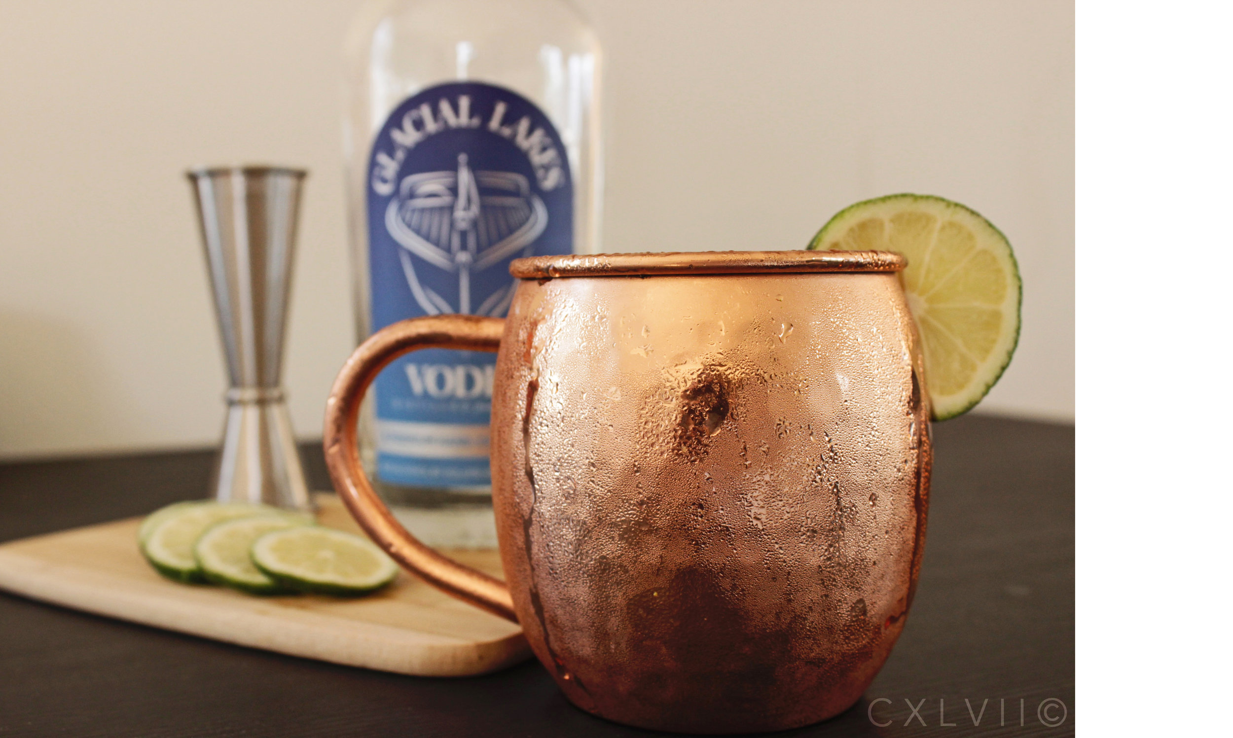 moscow mule - 2 oz Glacial Lakes Vodka1/2 oz of lime juiceServe in copper mug on iceTop with Ginger BeerGarnish with lime wedge