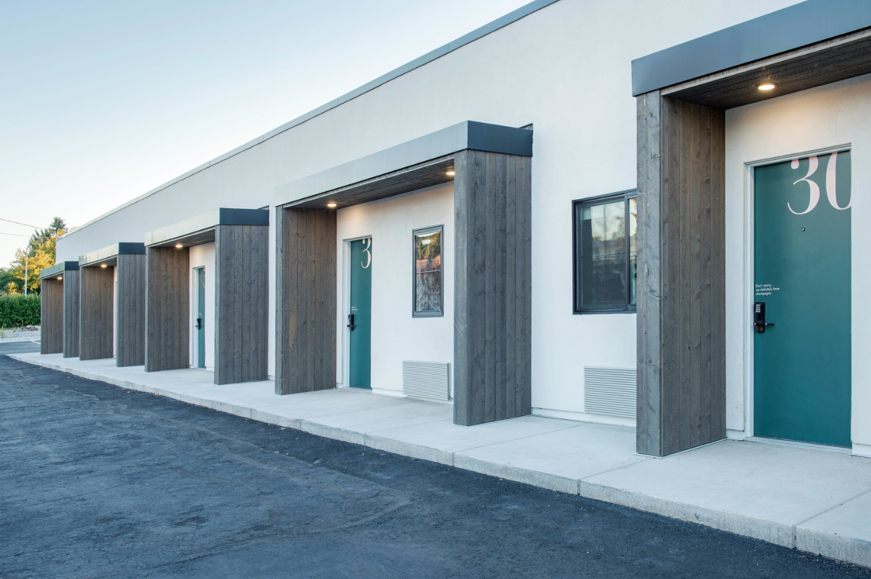 Updated motel room entrances set a stylish stage while offering increased visitor privacy.