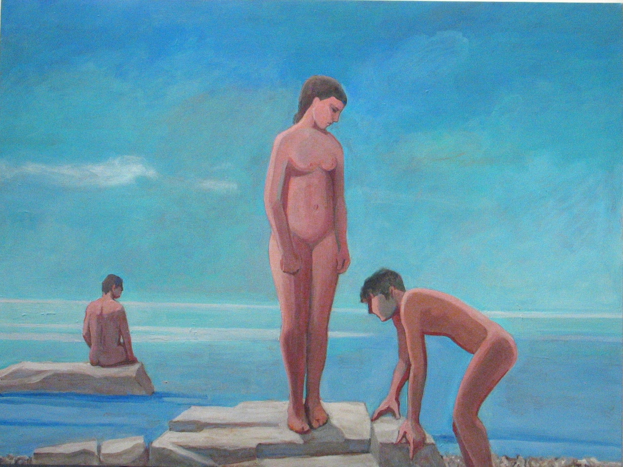 William Theophilus Brown     Untitled (Three Bathers),   2001 Acrylic on canvas 36 x 48 inches       For More Information     Artist Biography, Exhibitions & Collections