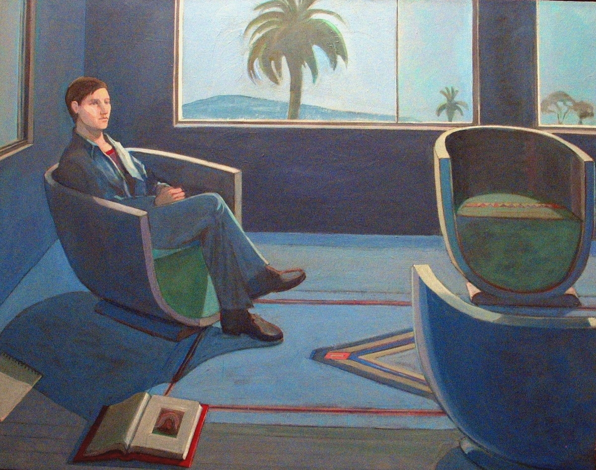 William Theophilus Brown     Interior Figure (Egg Shell Chairs),   1976 Acrylic on canvas 48 x 60 inches       For More Information     Artist Biography, Exhibitions & Collections