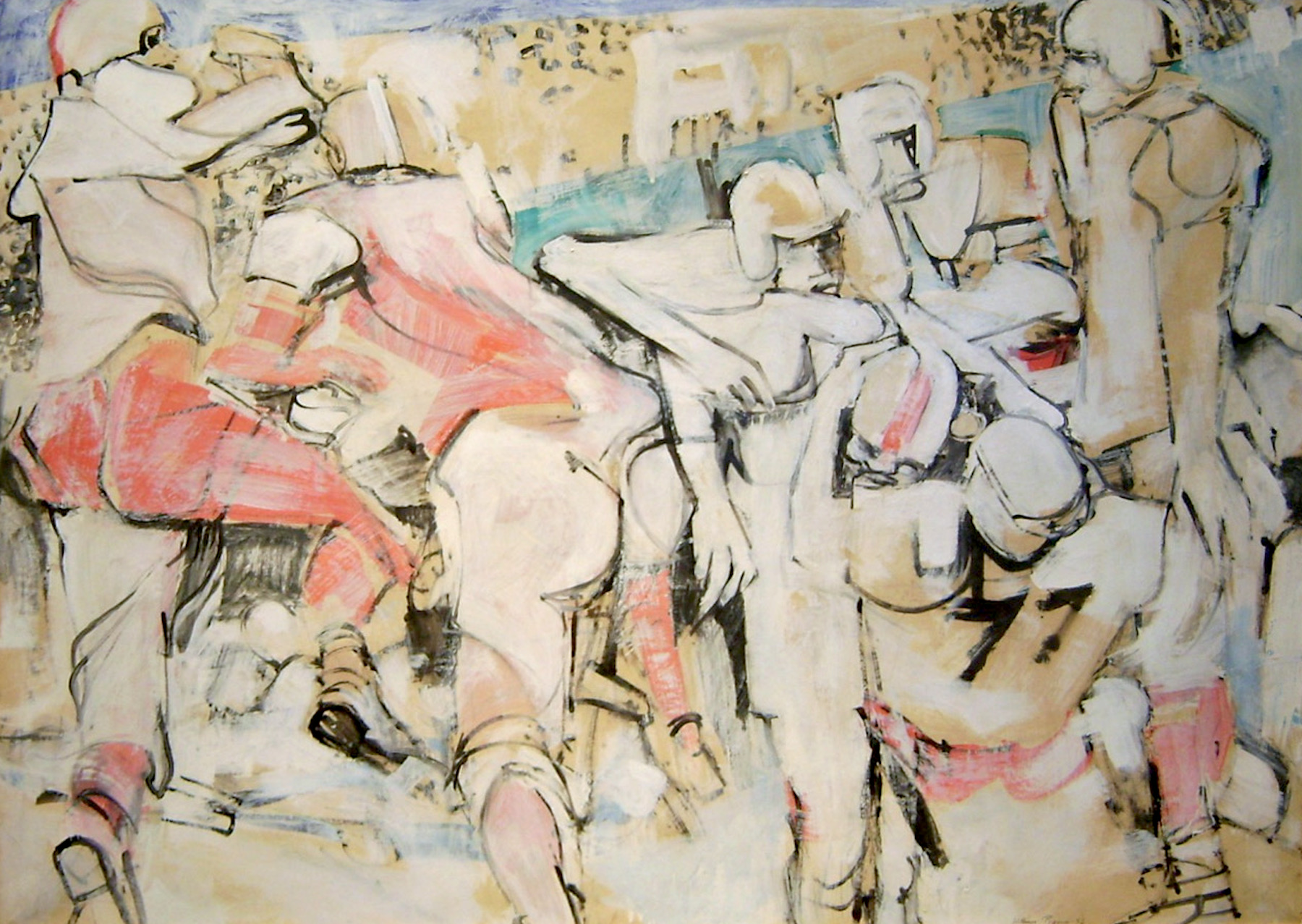 William Theophilus Brown     Untitled (Football),   1956 Oil on paper 42 x 55 inches       For More Information     Artist Biography, Exhibitions & Collections