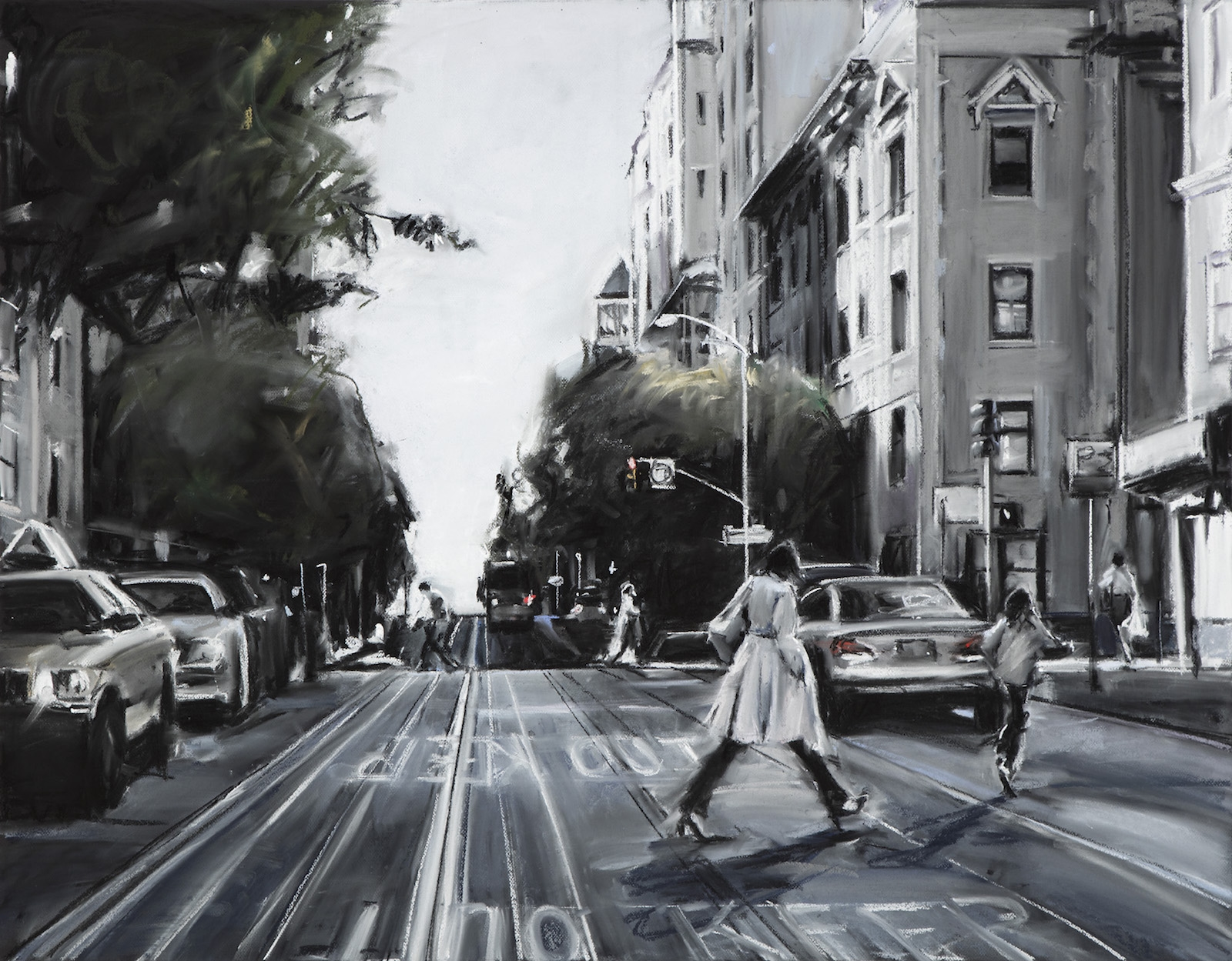 Susan Grossman      California Street,   2016 Charcoal & pastel on artist board 35 x 45 inches