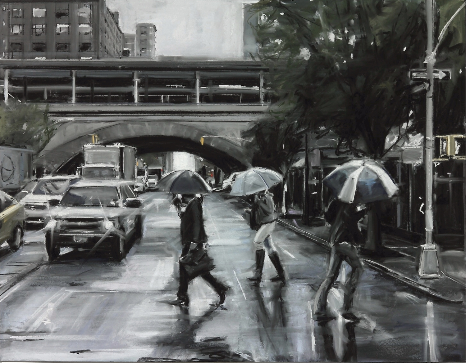 Susan Grossman      Underpass,   2015 Charcoal & pastel on artist board 35 x 45 inches