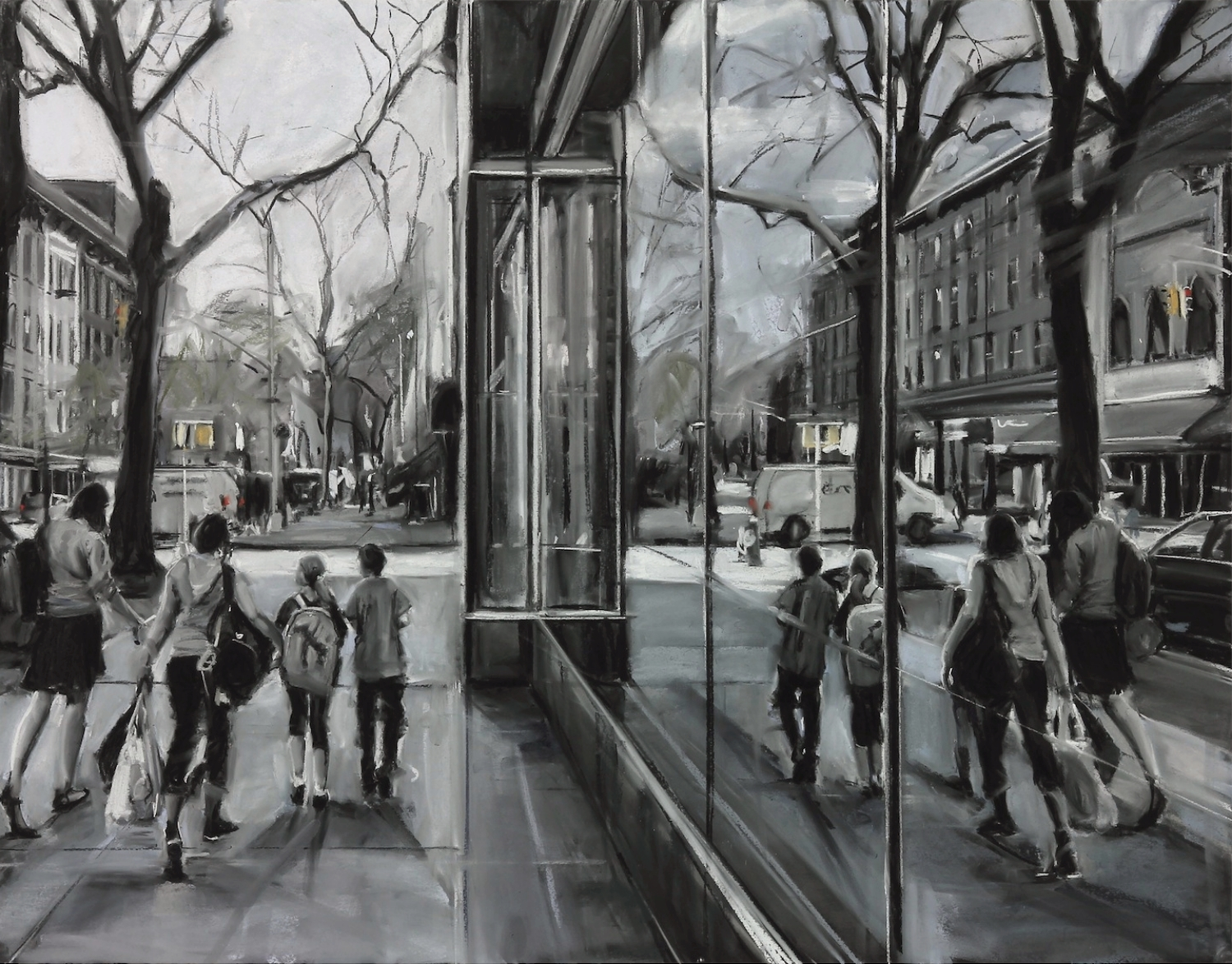 Susan Grossman      Reflect,   2015 Charcoal & pastel on artist board 35 x 45 inches