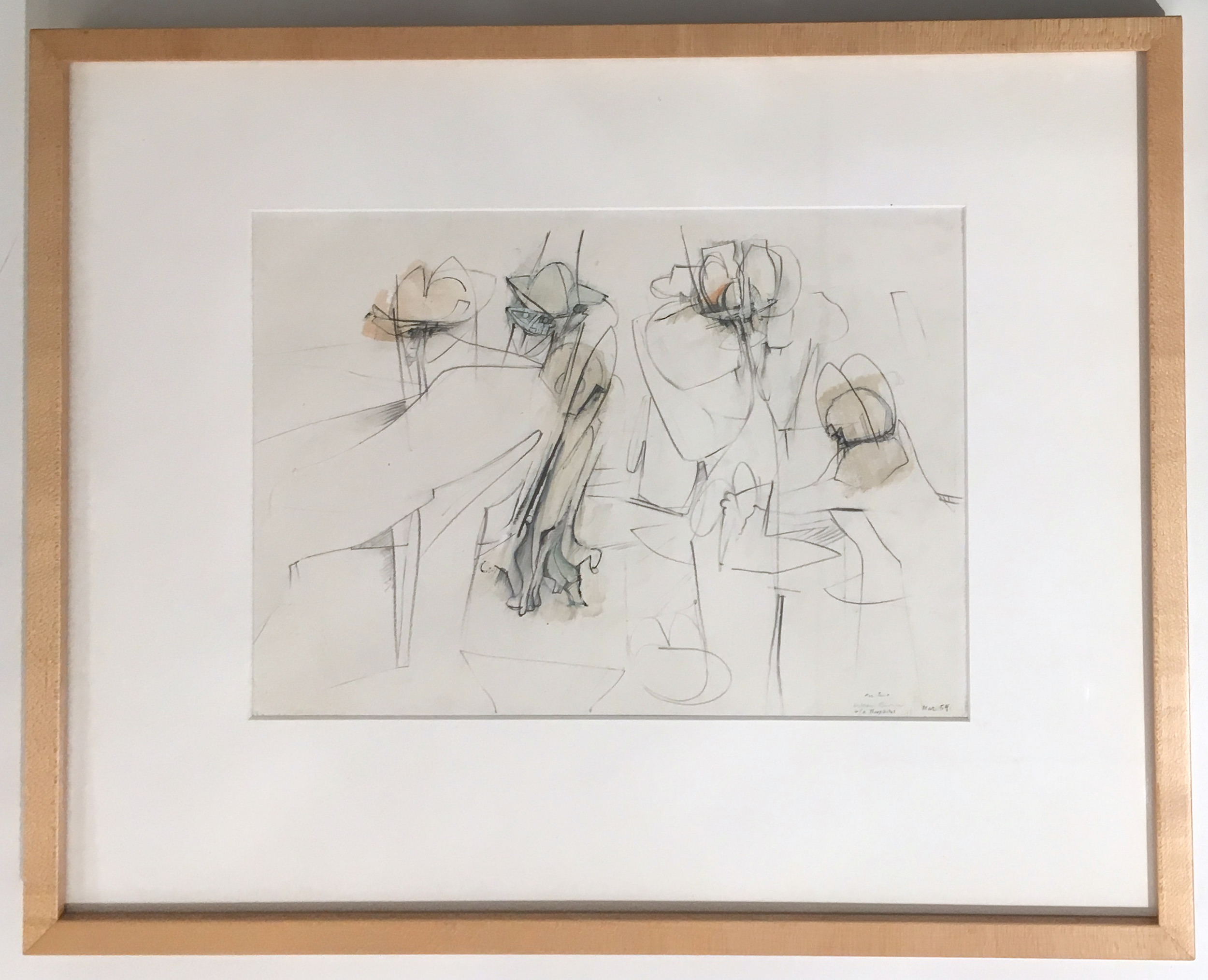 William Theophilus Brown (1919-2012)    Untitled (Study for Football) ,  1954  graphite, ink and color pencil on paper 12 x 14 inches image size 21 x 22 inches framed size  $15,000 Offered at: $9,000      I'm Interested!