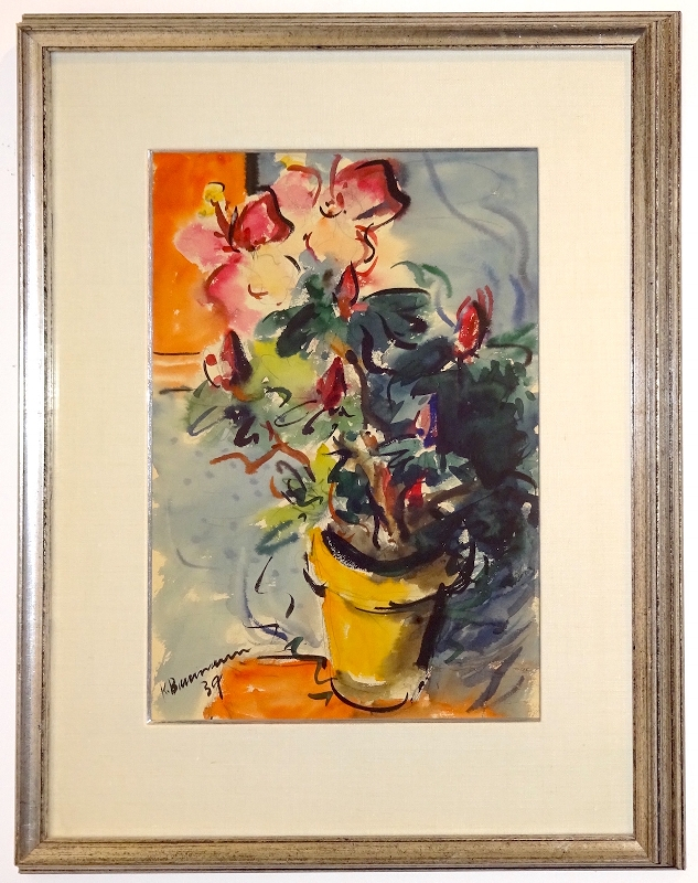 Karl Baumann (1911-1984)    Untitled (Flowers) , 1 939  gouache on paper 17.5 x 11.75 inches image size 26 x 20.25 inches framed size  $2,500 Offered at: $1,250      I'm Interested!