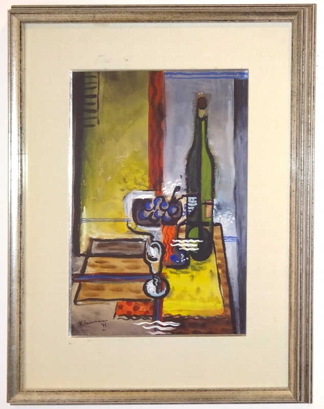Karl Baumann (1911-1984)    Untitled (Still Life) ,  1941  gouache on paper 17.5 x 11.75 inches image size 26 x 20.25 framed size  $2,500 Offered at: $1,250      I'm Interested!