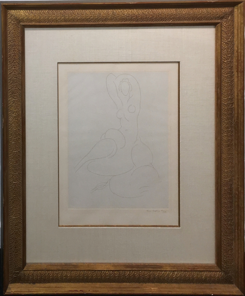 Henri Matisse (1869-1954)    Grand Nu Assis Bras Relieurs (Large Seated Nude with Arms Above) ,  1930  Etching on chine colle 14 1/4 x 11 inches image size 25 x 20 inches framed size  $8,500 Offered at: $6,500      I'm Interested!