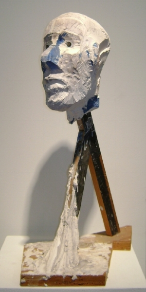 Manuel Neri    Untitled Head,   c. 1969  Painted plaster, wood, mixed media sculpture 26 x 17 x 12 inches   Please Contact Gallery for price by clicking:    I'm Interested!