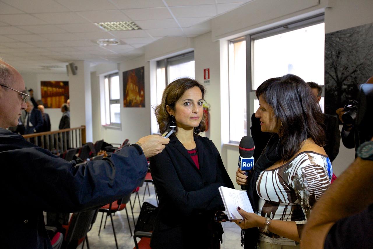 Cristina Gerardus, avvocatura dello stato al processo Montedison, durante l'intervallo del processo del 17 ottobre 2014, Tribunale penale, Chieti.