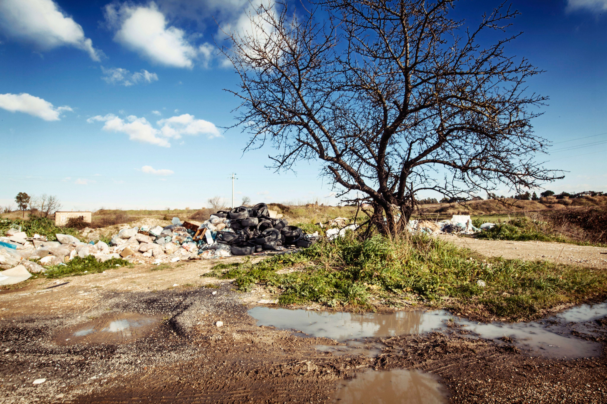 Discarica a cielo aperto nella zona di Malagrotta.