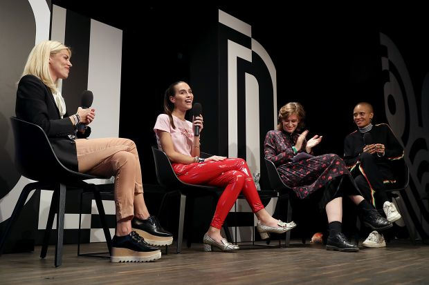 """Gurls Talk"" starring psychologist Dr. Lauren Hazzouri, transgender model Maxim Magnus, Alexandra Bondi de Antoni (i-D Germany) and model/activist Adwoa Aboah (from left)"