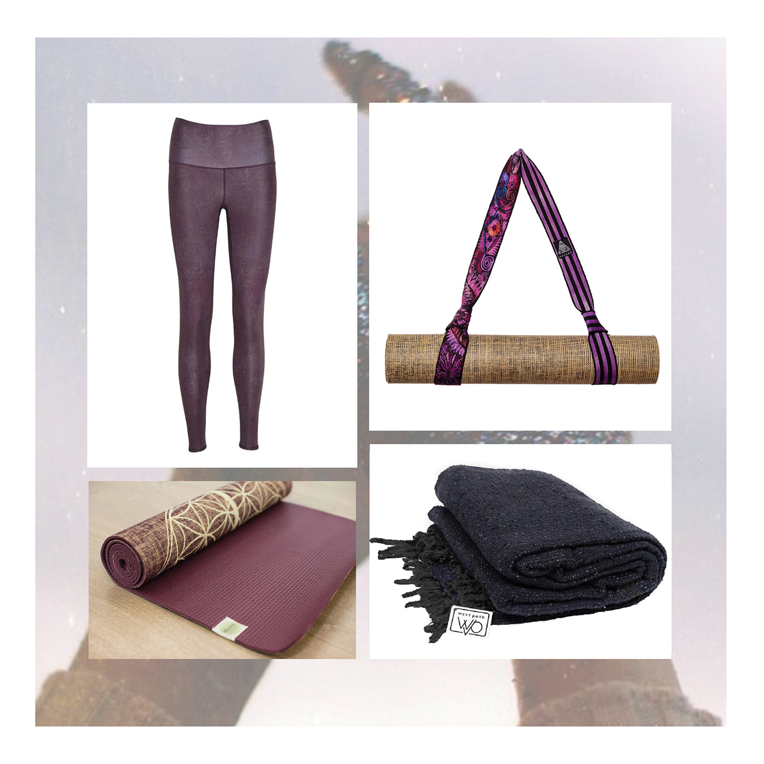 Moonchild Leggings  $95,  Akasha Yoga Strap  $89,  West Path Meditation Blanket  $70,  YogaTribe 100% Jute Mat  $120