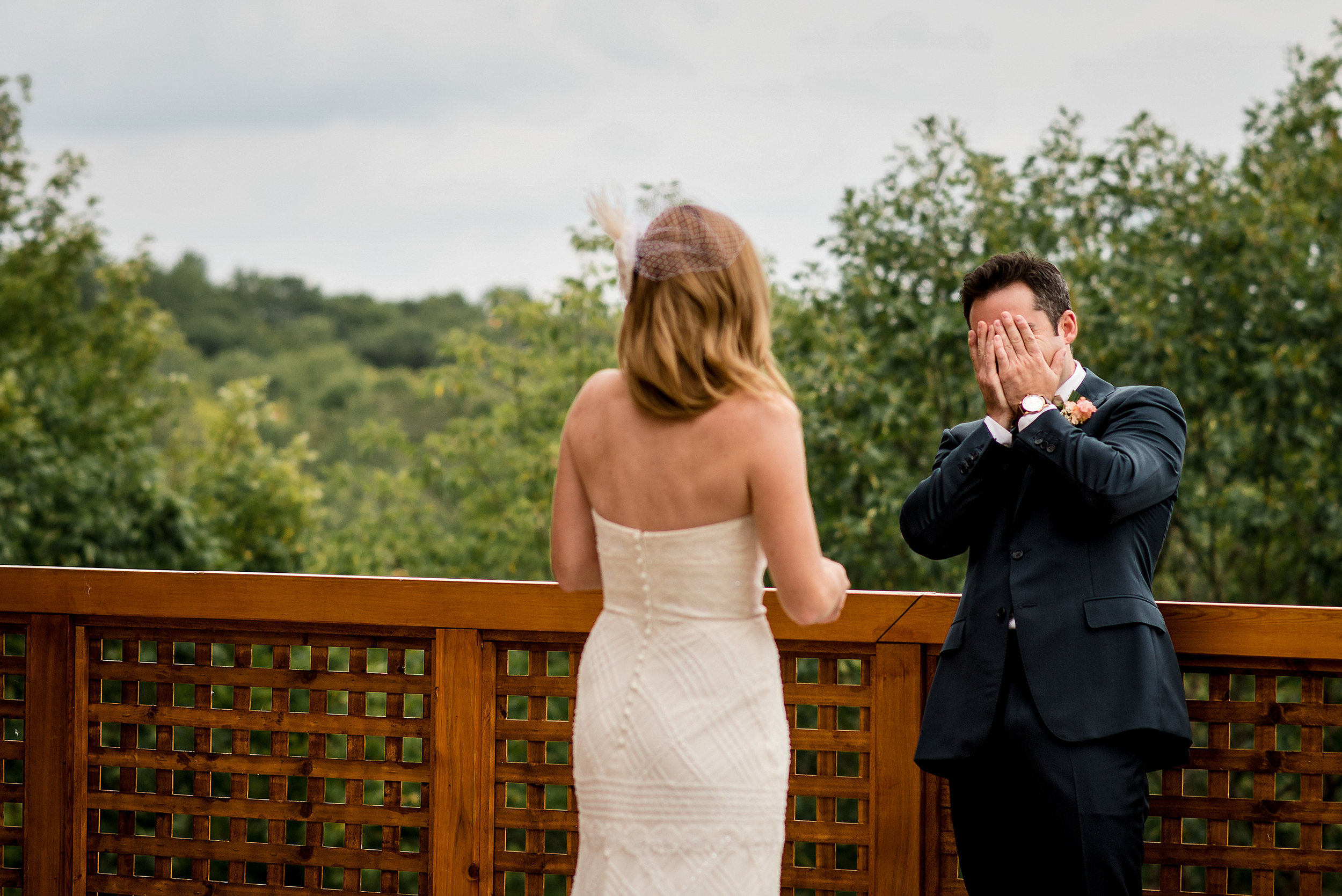 grooms reaction to seeing bride for the first time les fourgeres wedding in quebec