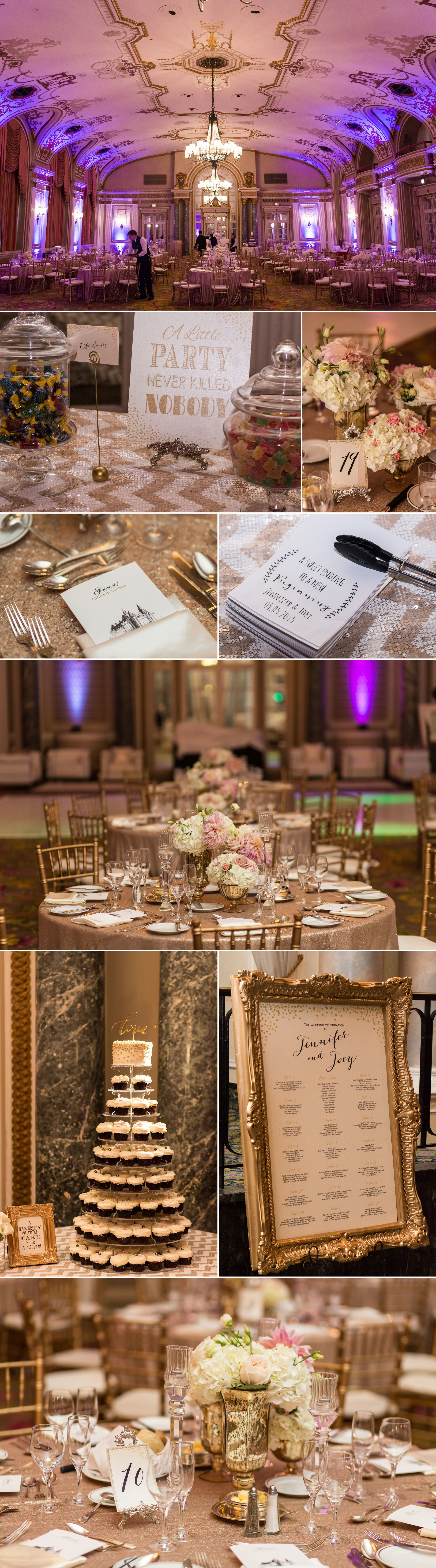 Wedding decorations in the ballroom of the chateau laurier