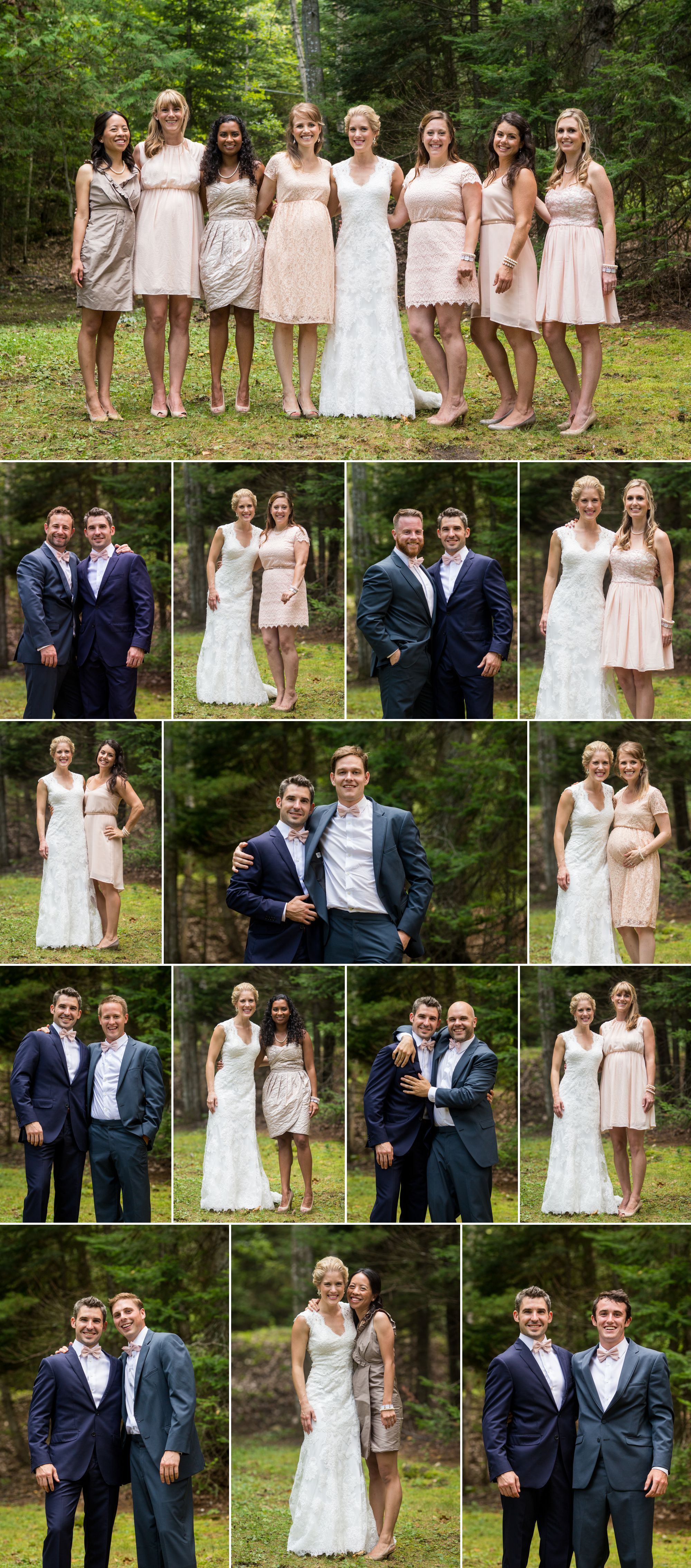 Bridal party on a boat and in the forest