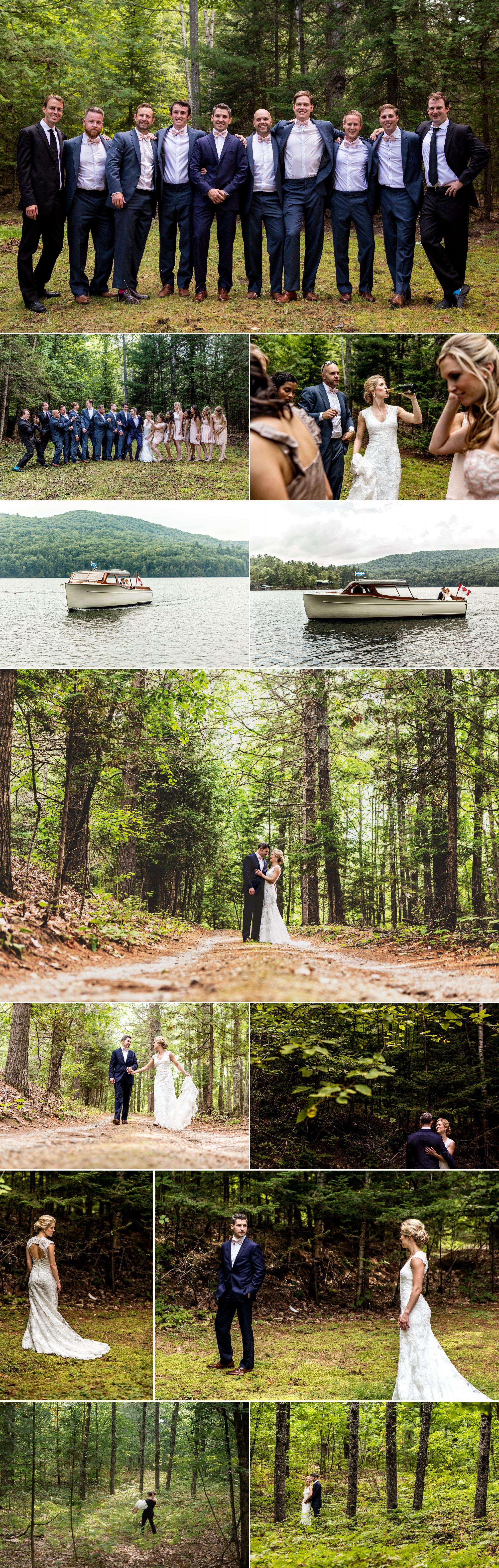 Couples photos and wedding part photos at a cottage wedding near ottawa