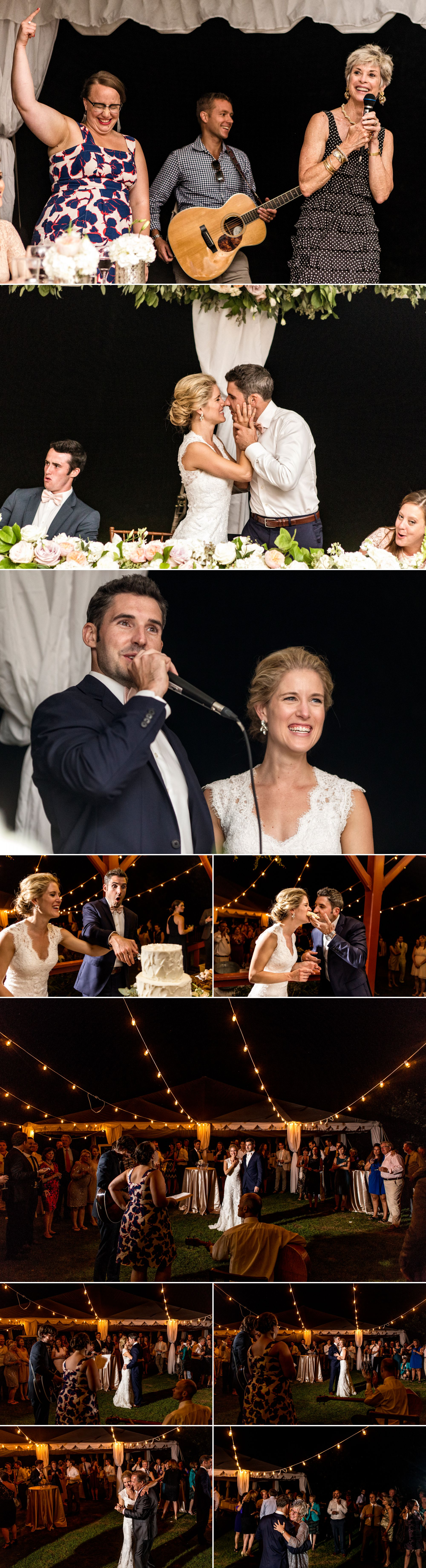Outdoor speech and dancing photos at a cottage wedding