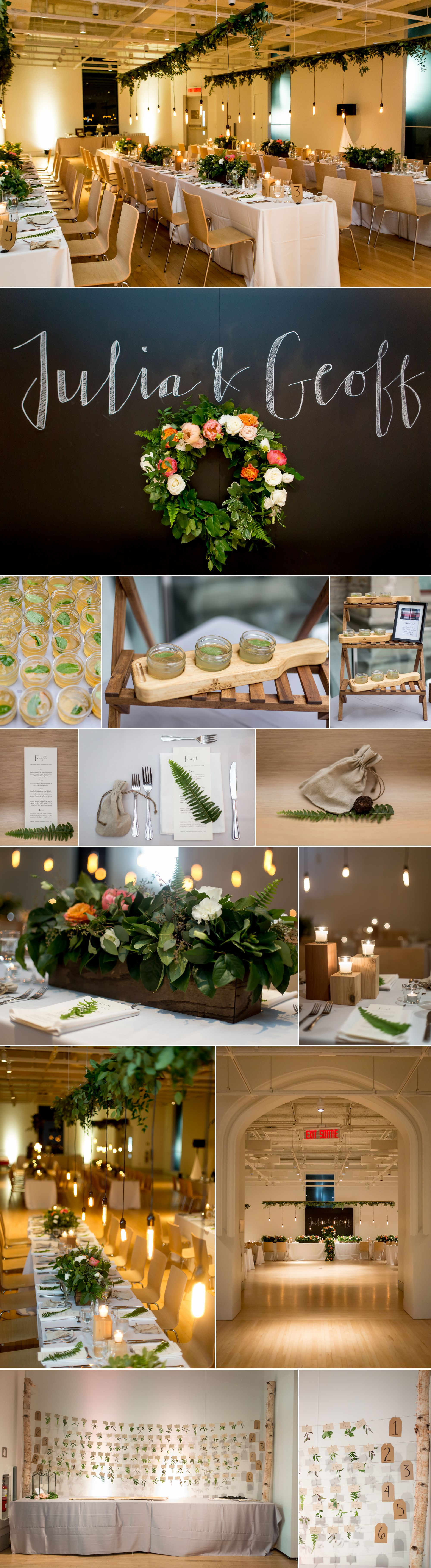 Wedding details and decor at the museum of nature