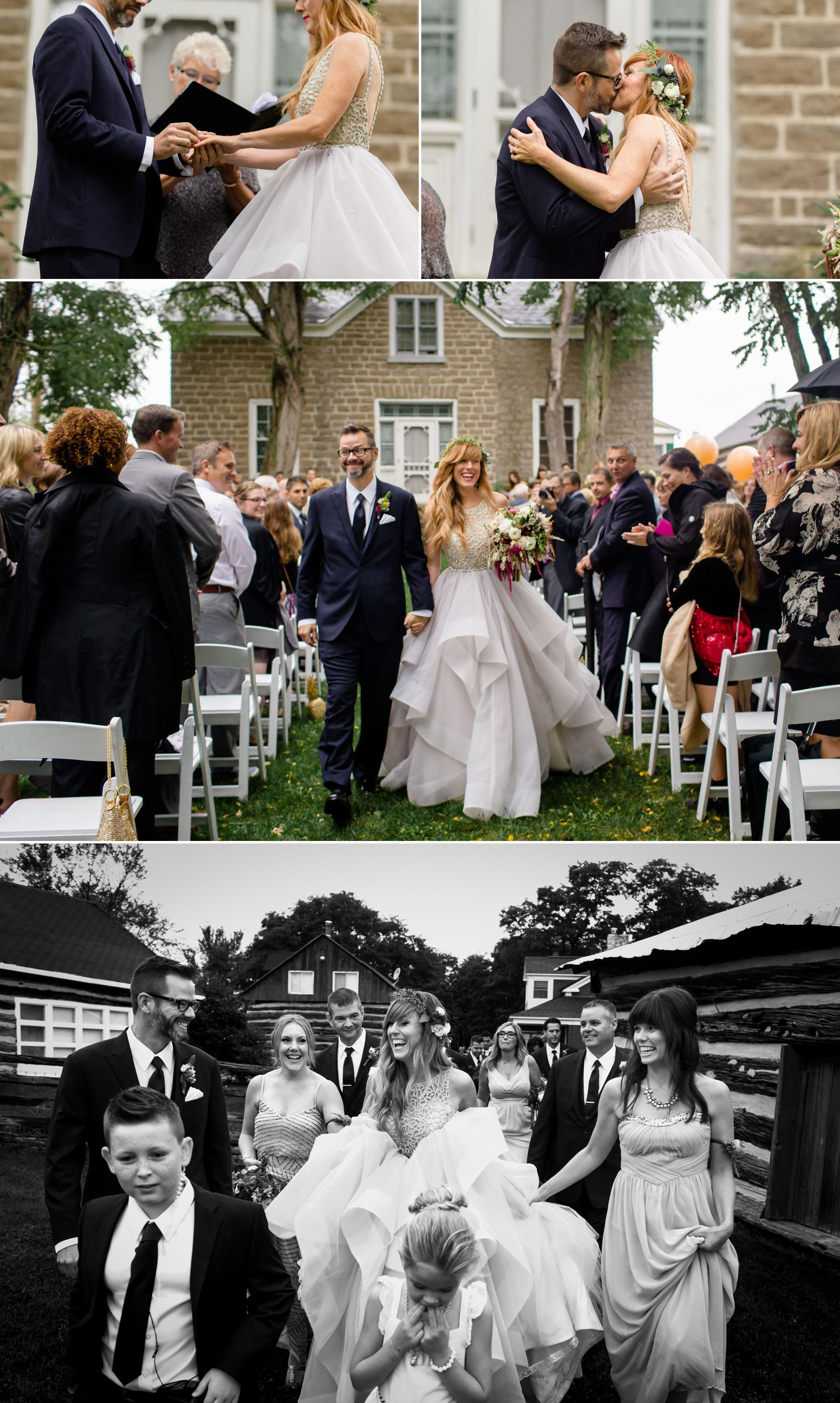 Wedding ceremony photographs at Stonefields Heritage Farm