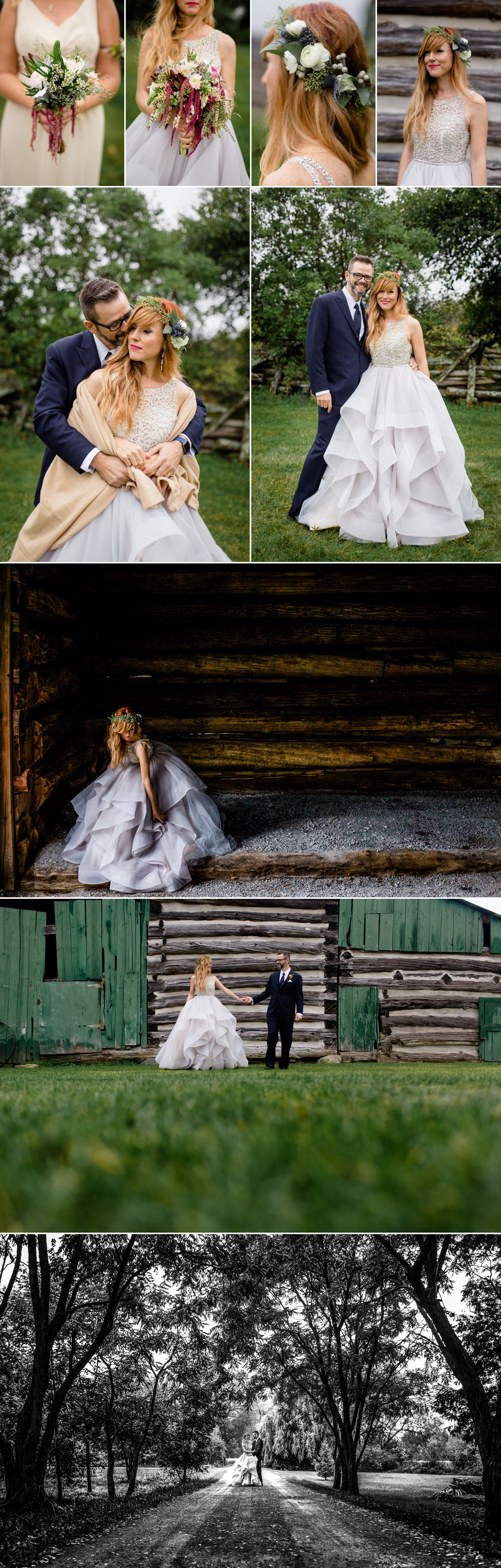 Bride and groom portraits at Stonefields Heritage Farm
