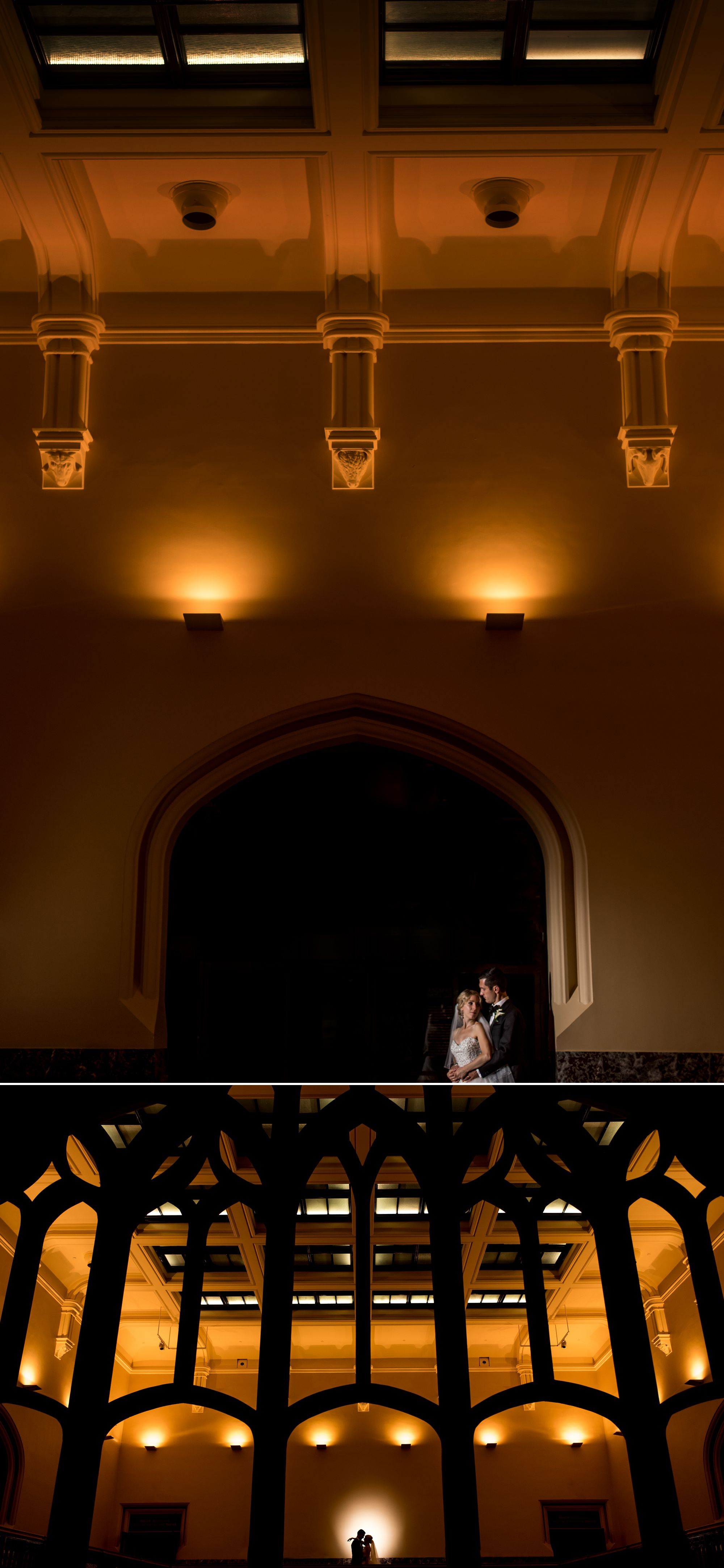 Bride and groom photographs at the museum of nature