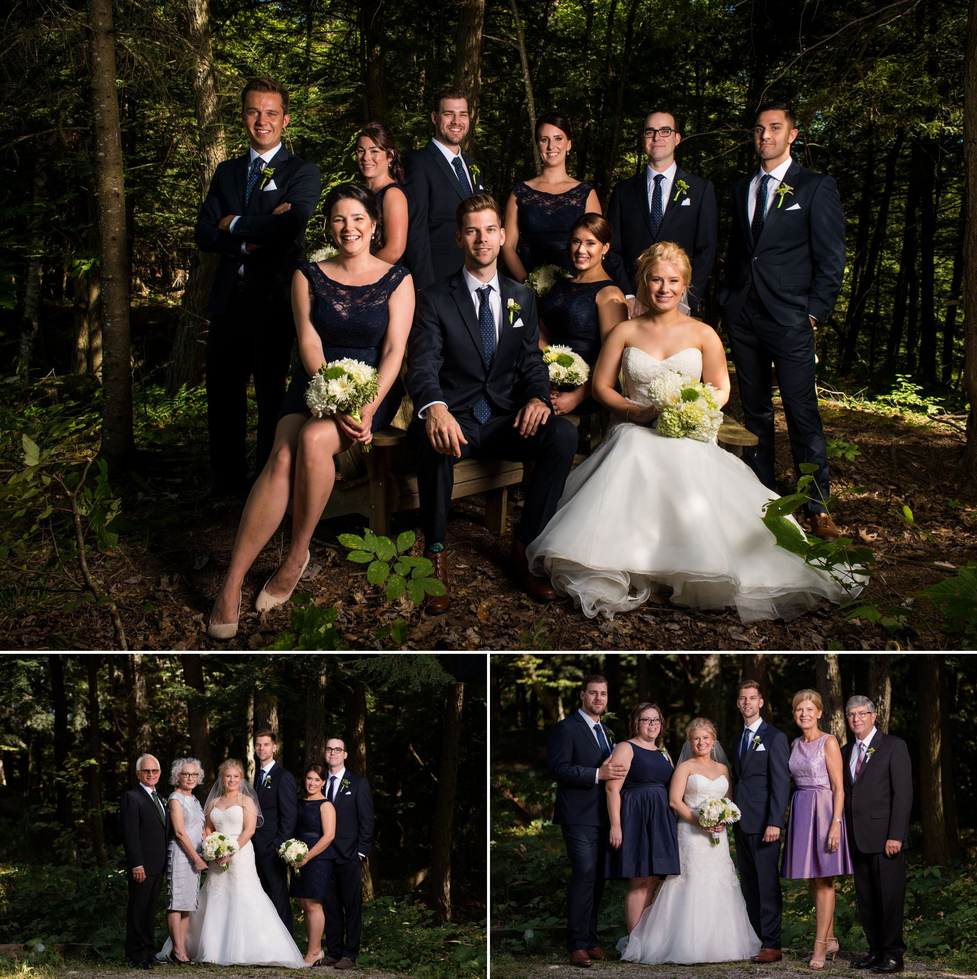 family portraits at a wedding