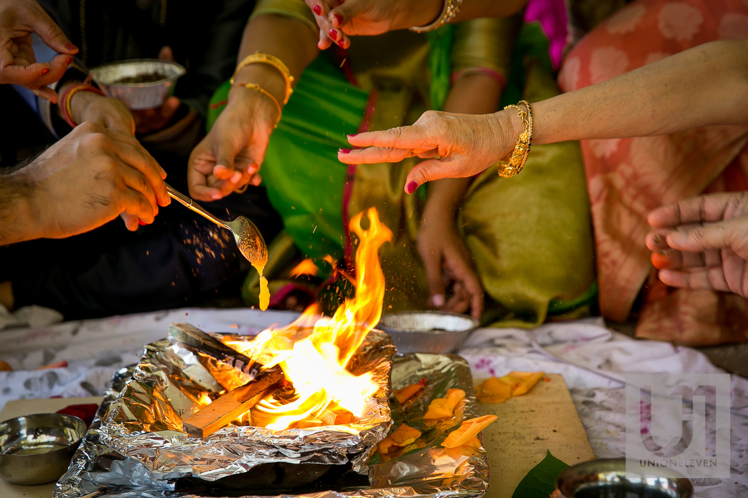 ceremonial fire at a mendhi ceremony