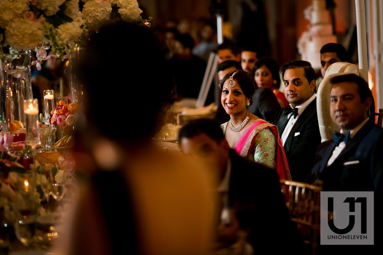 indian bride listening to a speech