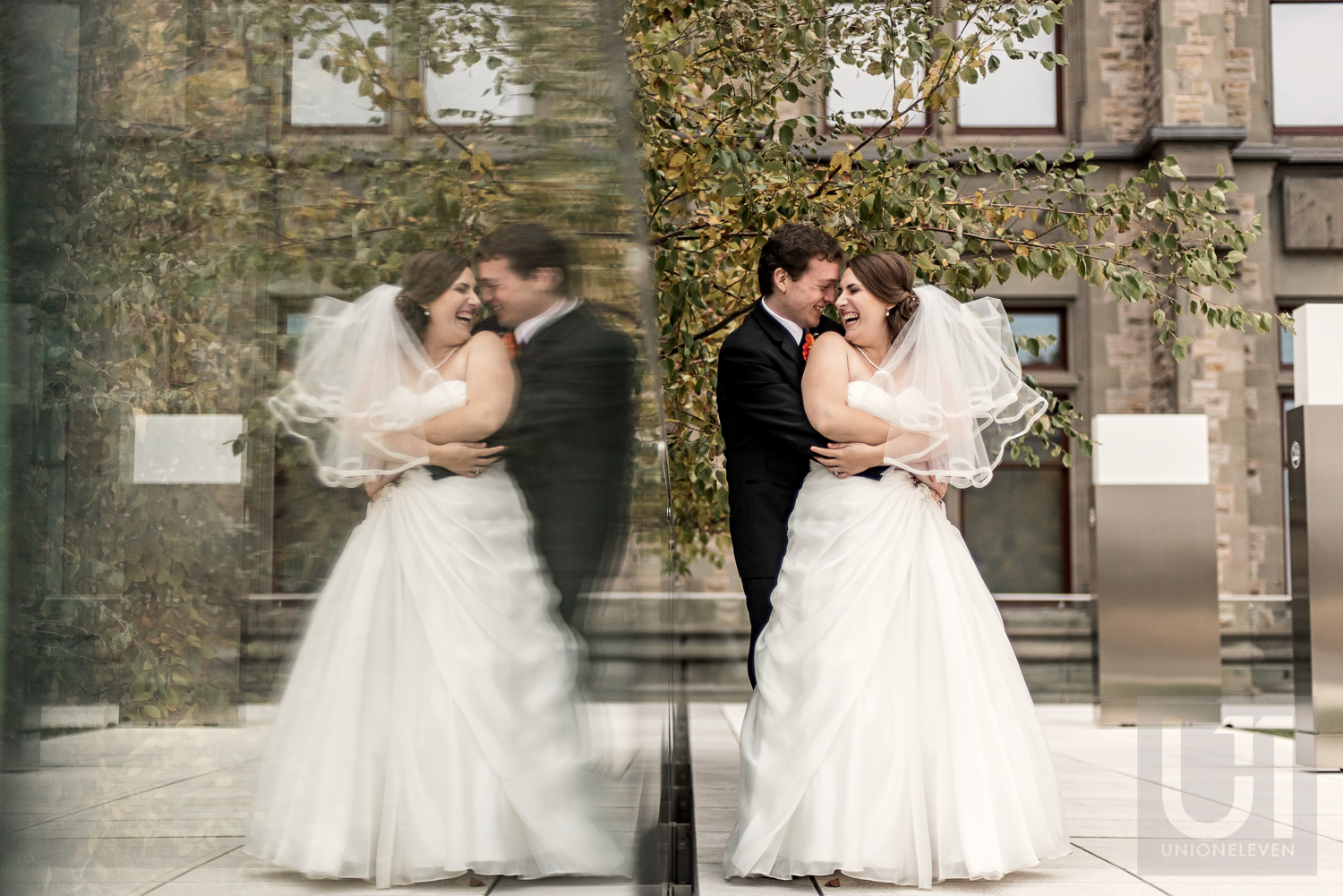 A photo of the bride and groom outside the Museum of Nature, Ottawa