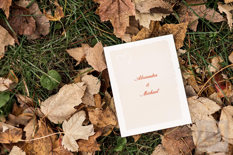 A wedding invitation for Alexandra and Michaels Wedding
