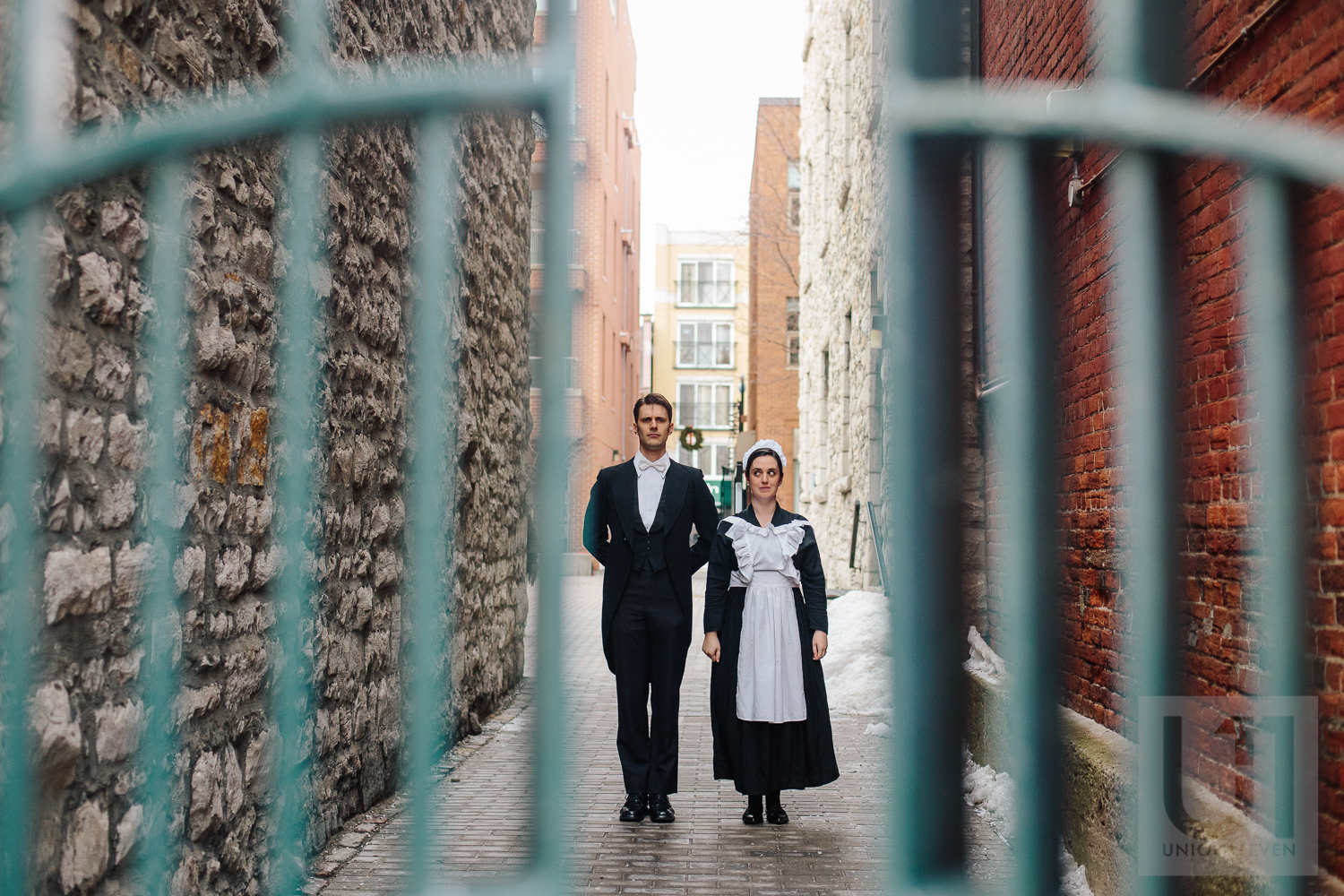 Engagement shoot with the couple dressed in a butler and maid costume