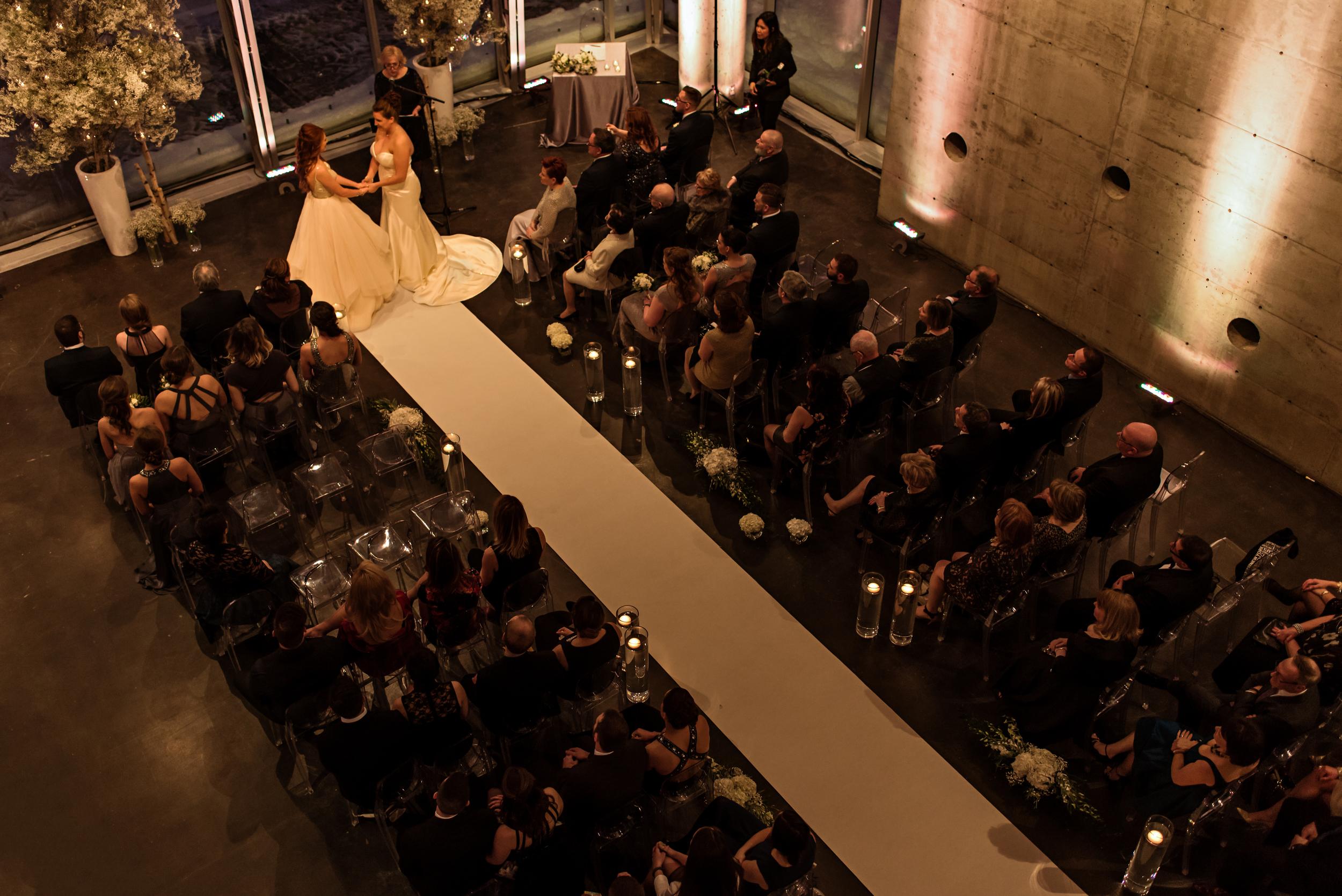 An aerial view of a Quebec City wedding ceremony