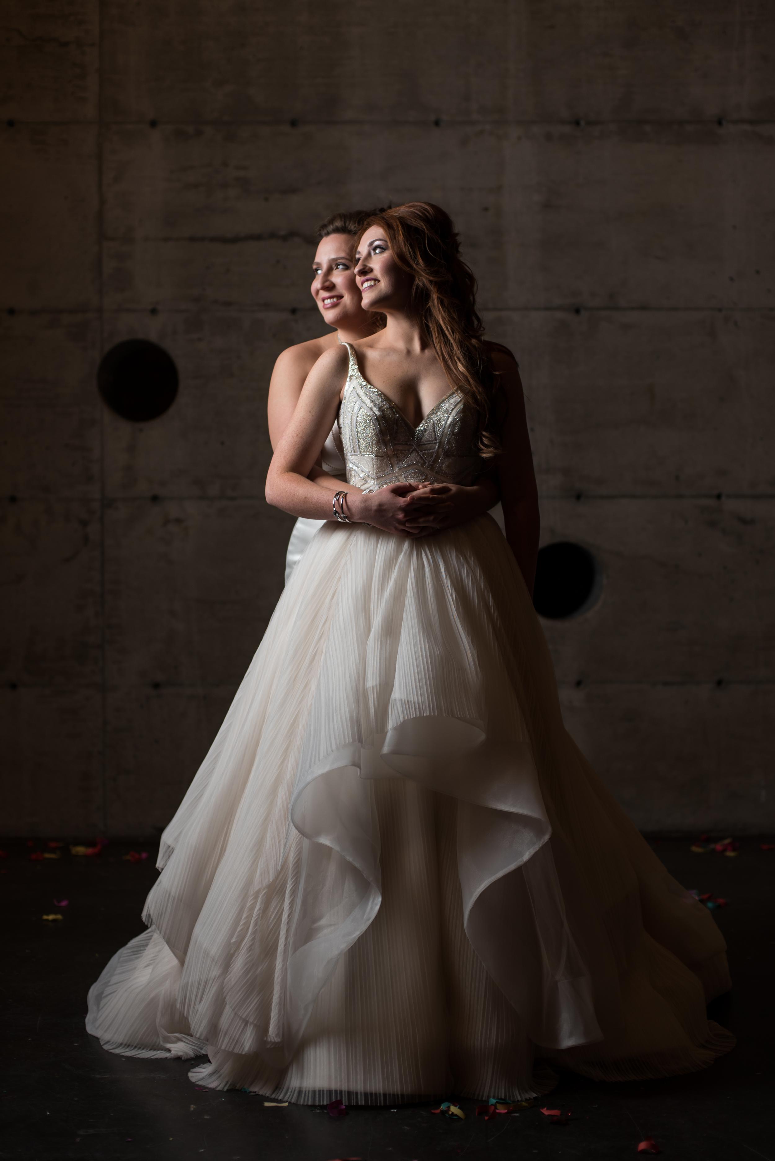 A formal portrait of the brides